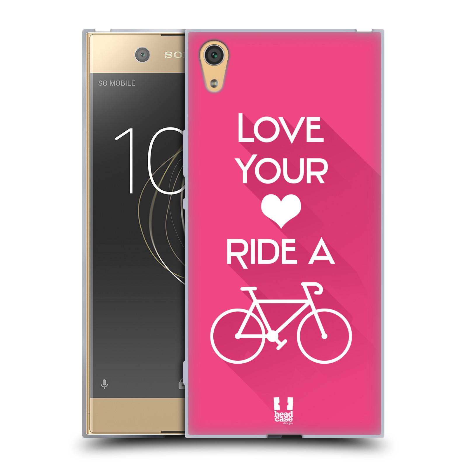 HEAD CASE silikonový obal na mobil Sony Xperia XA1 ULTRA Cyklista růžové pozadí kolo sport