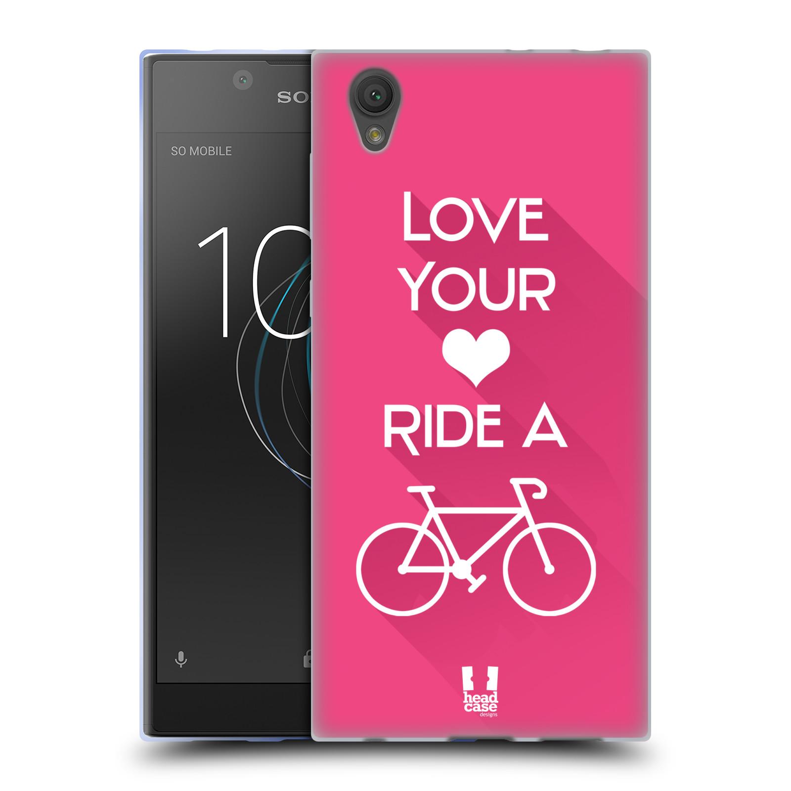 HEAD CASE silikonový obal na mobil Sony Xperia L1 Cyklista růžové pozadí kolo sport
