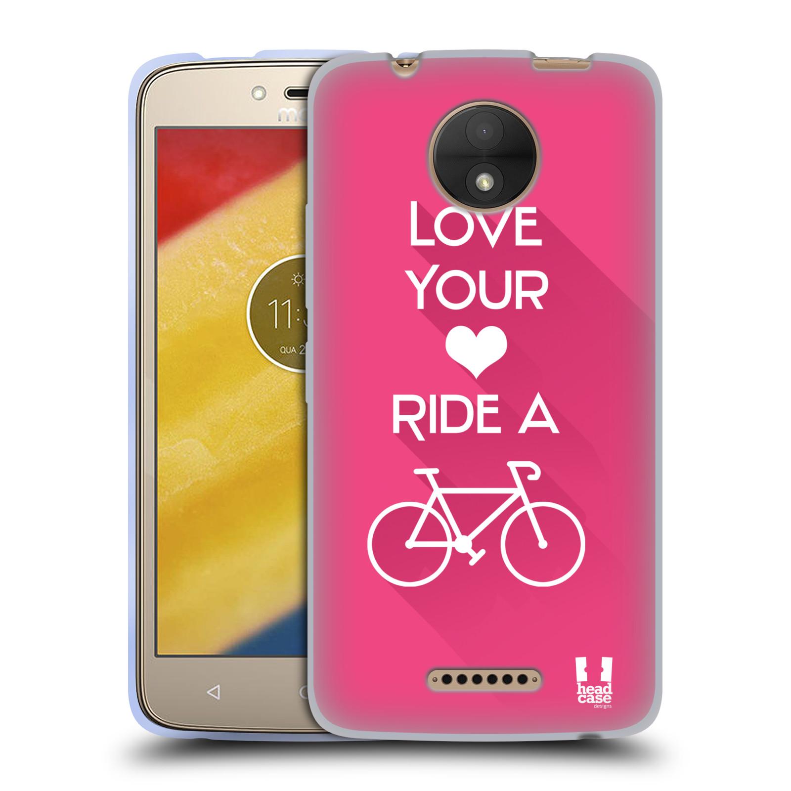 HEAD CASE silikonový obal na mobil Lenovo Moto C Cyklista růžové pozadí  kolo sport 4a5cb25a9bb