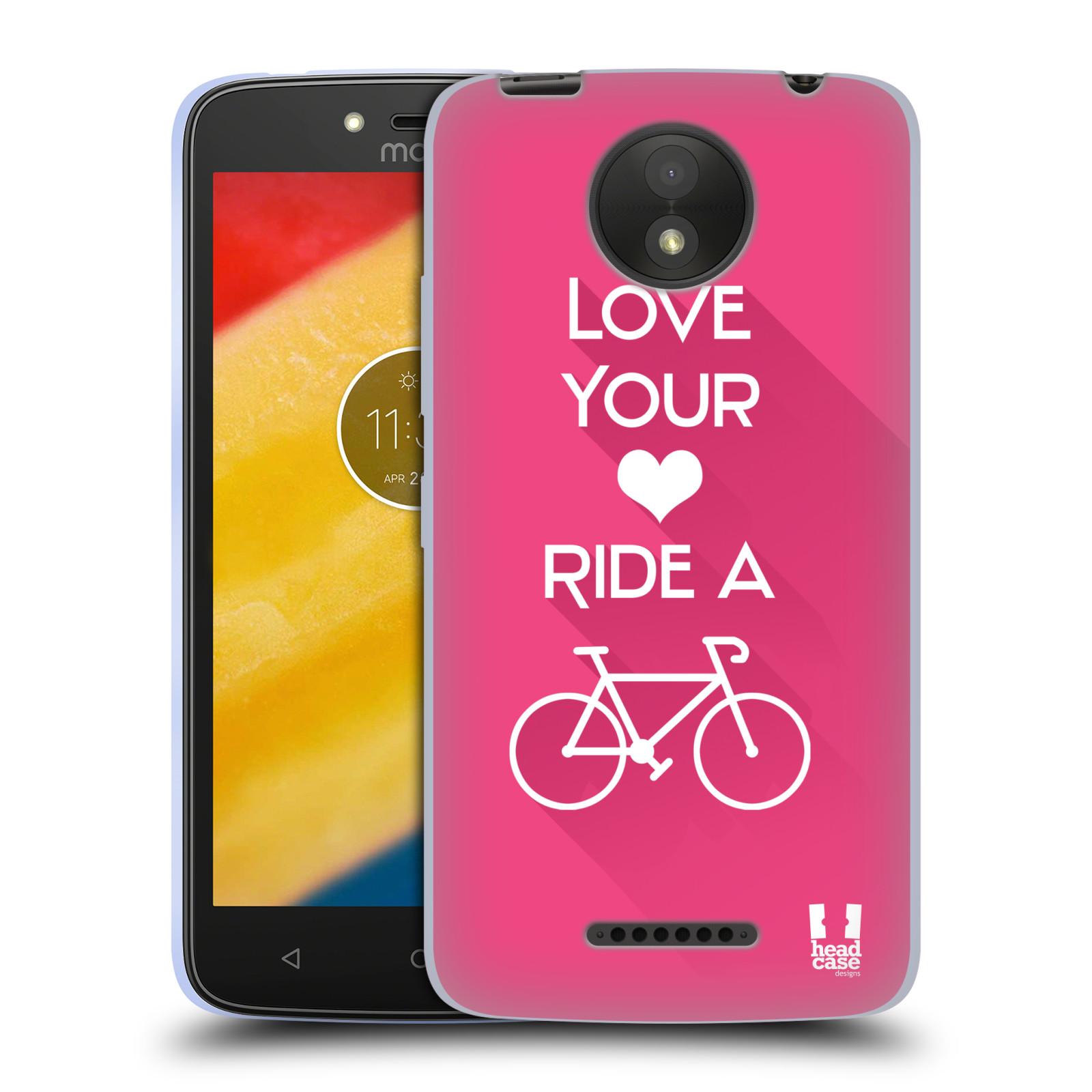 HEAD CASE silikonový obal na mobil Lenovo Moto C PLUS Cyklista růžové  pozadí kolo sport 3a6bc6ad66b