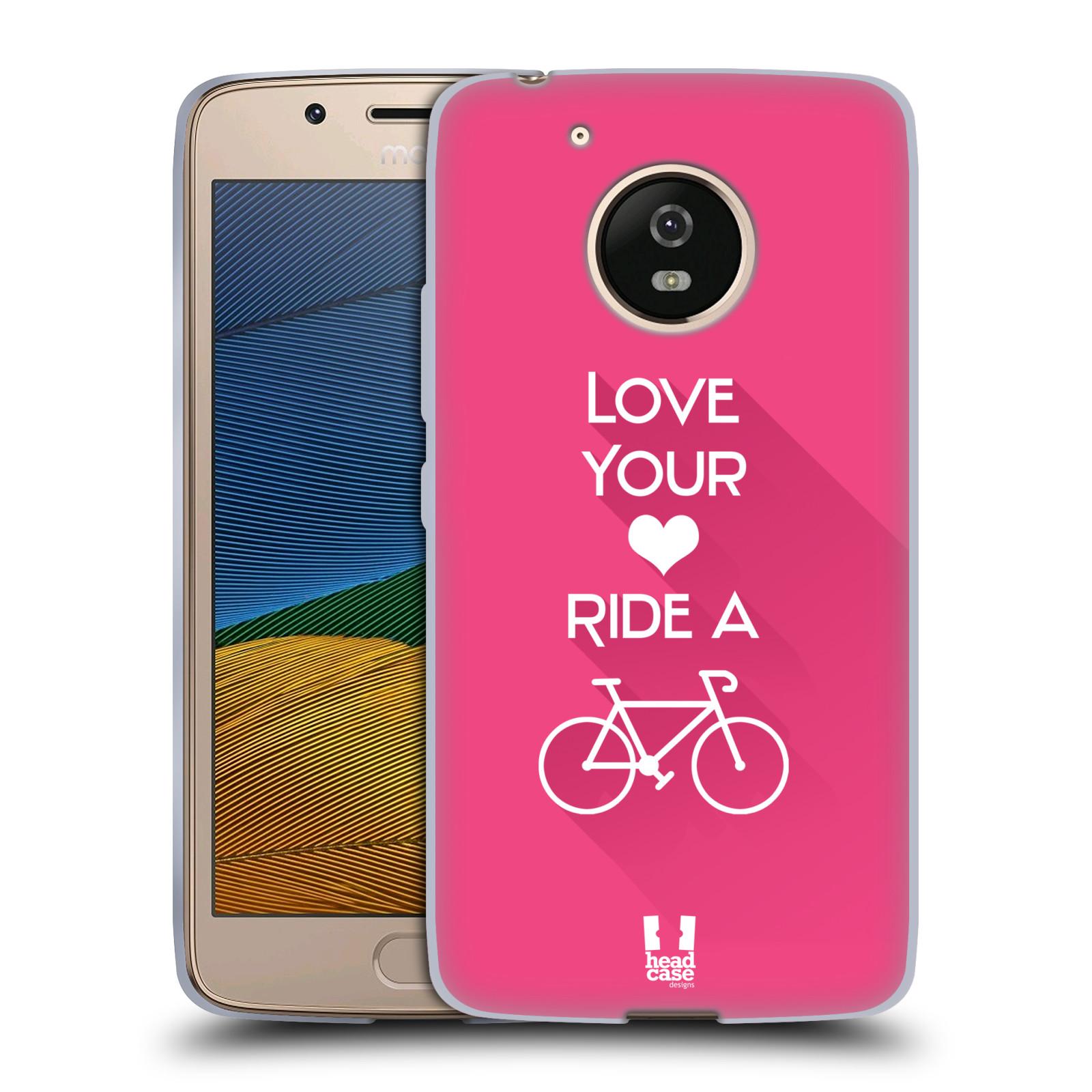 17d4e7445 HEAD CASE silikonový obal na mobil Lenovo Moto G5 Cyklista růžové pozadí  kolo sport