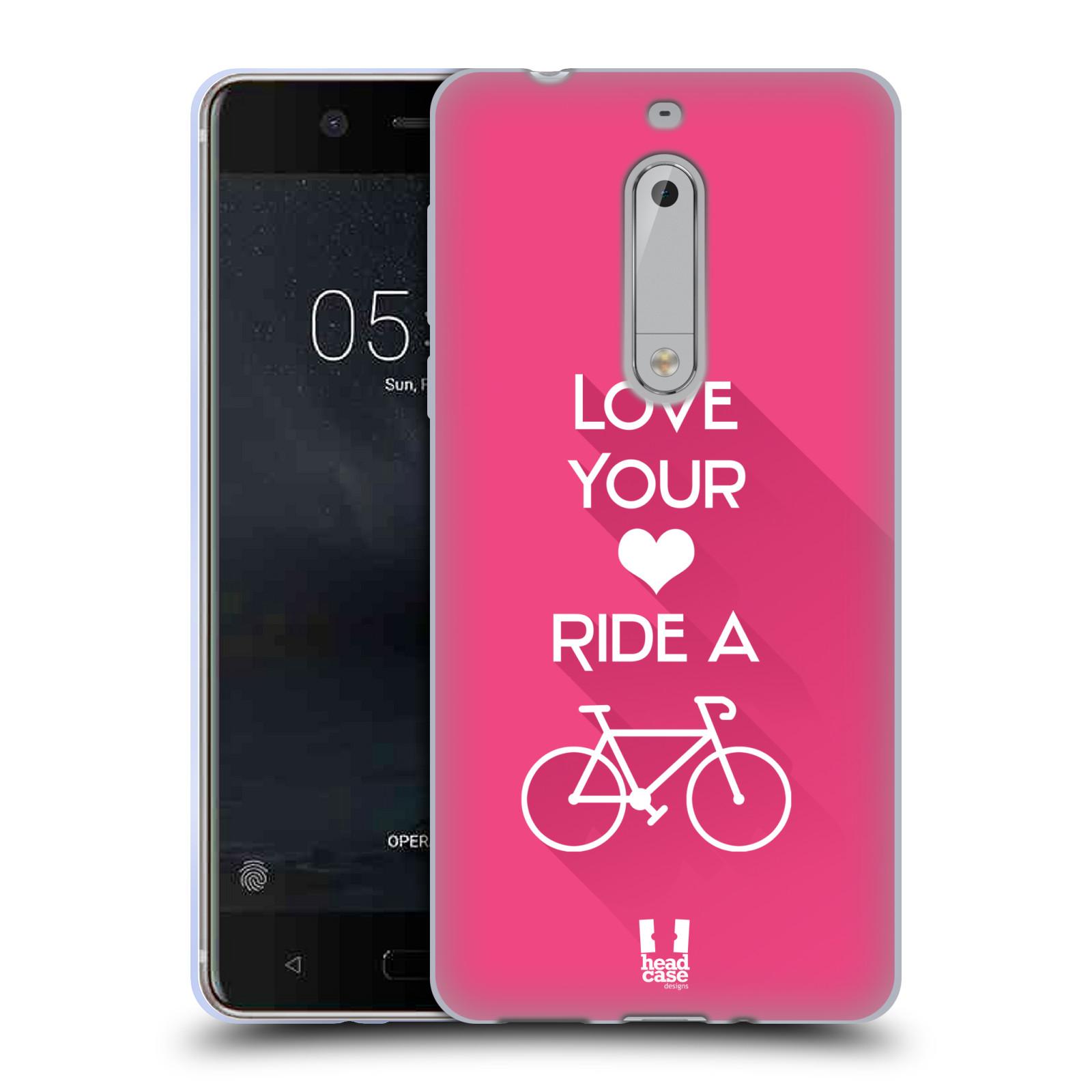 HEAD CASE silikonový obal na mobil Nokia 5 Cyklista růžové pozadí kolo sport