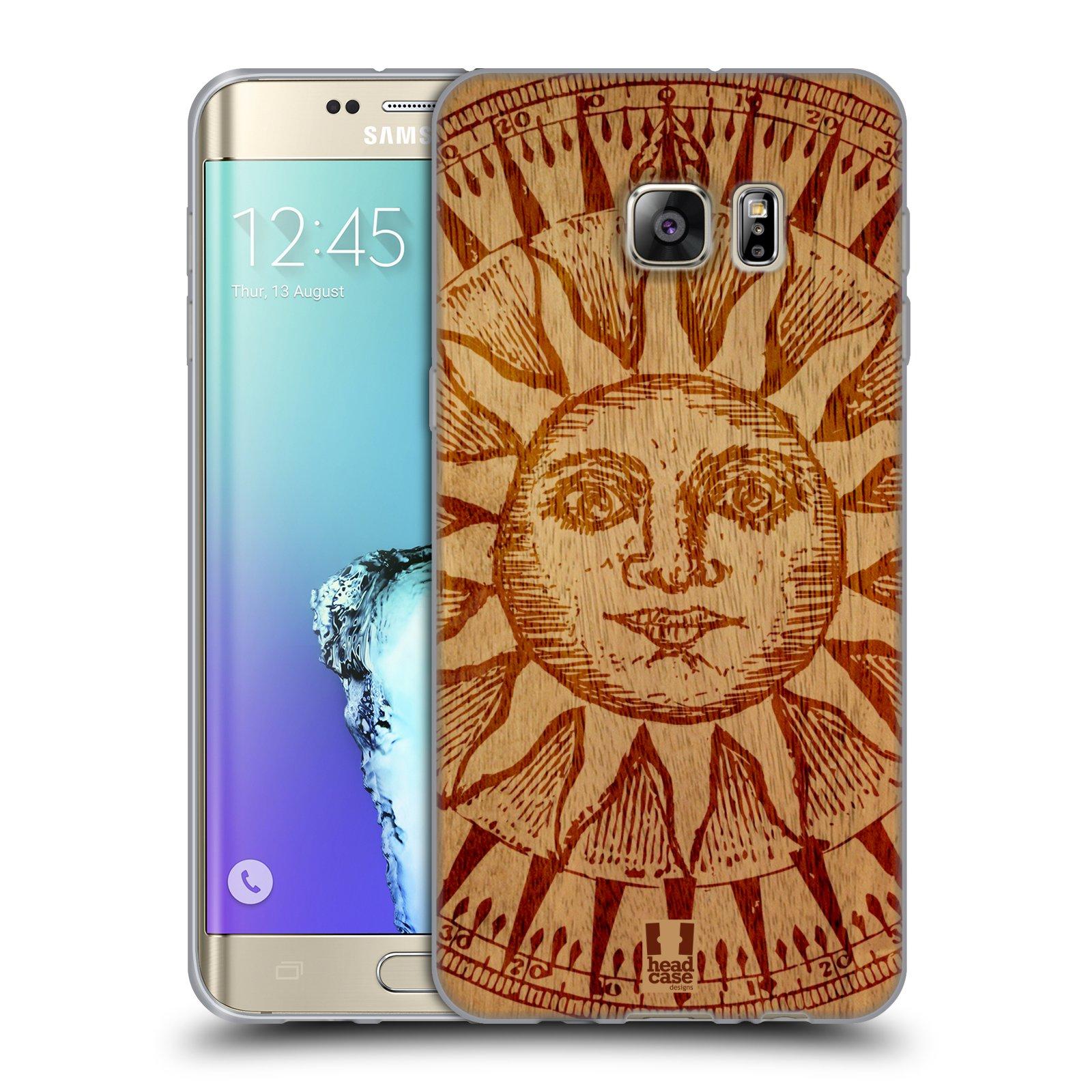 HEAD CASE silikonový obal na mobil Samsung Galaxy S6 EDGE PLUS vzor Dřevěné umění SLUNCE