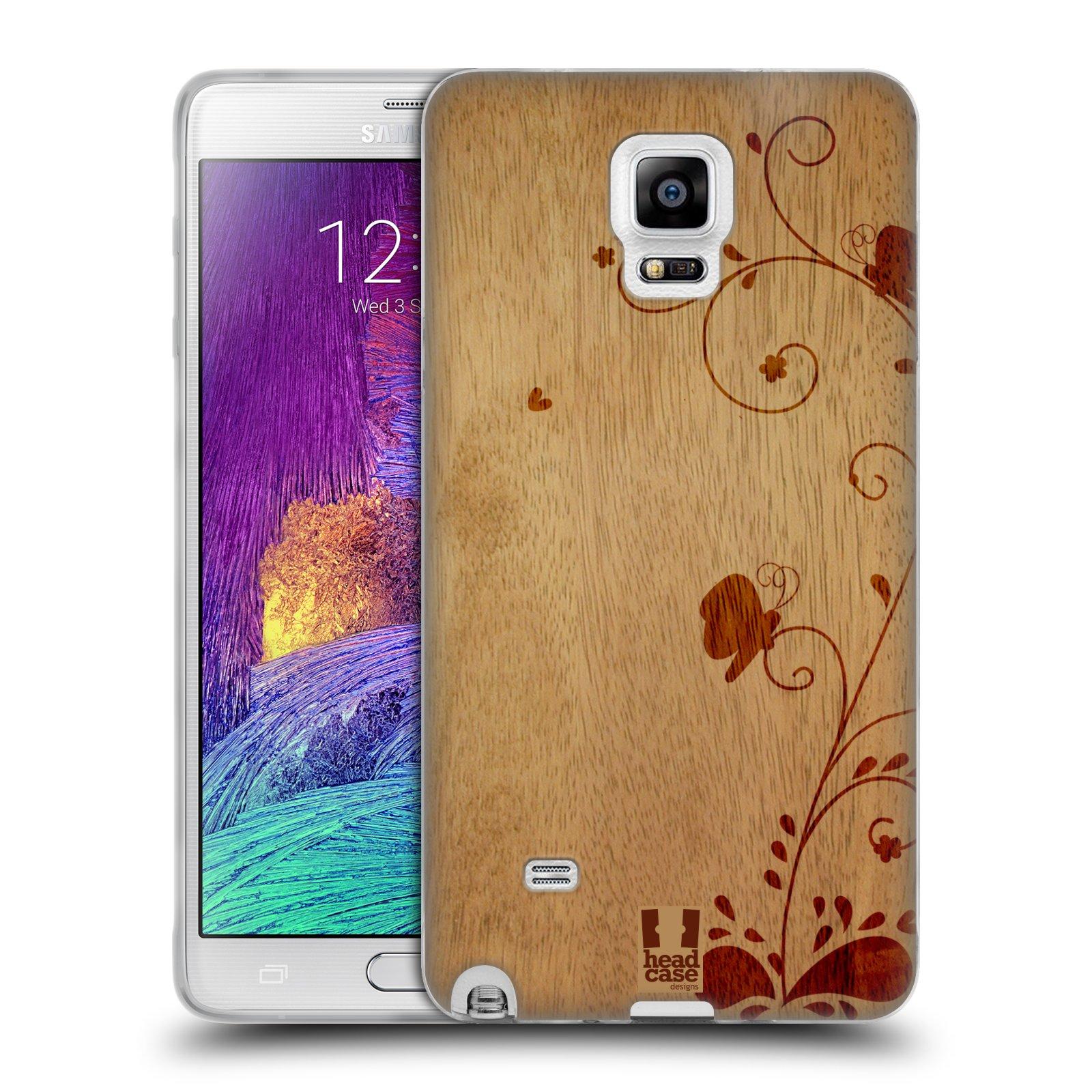 HEAD CASE silikonový obal na mobil Samsung Galaxy Note 4 (N910) vzor Dřevěné umění KVĚTINA