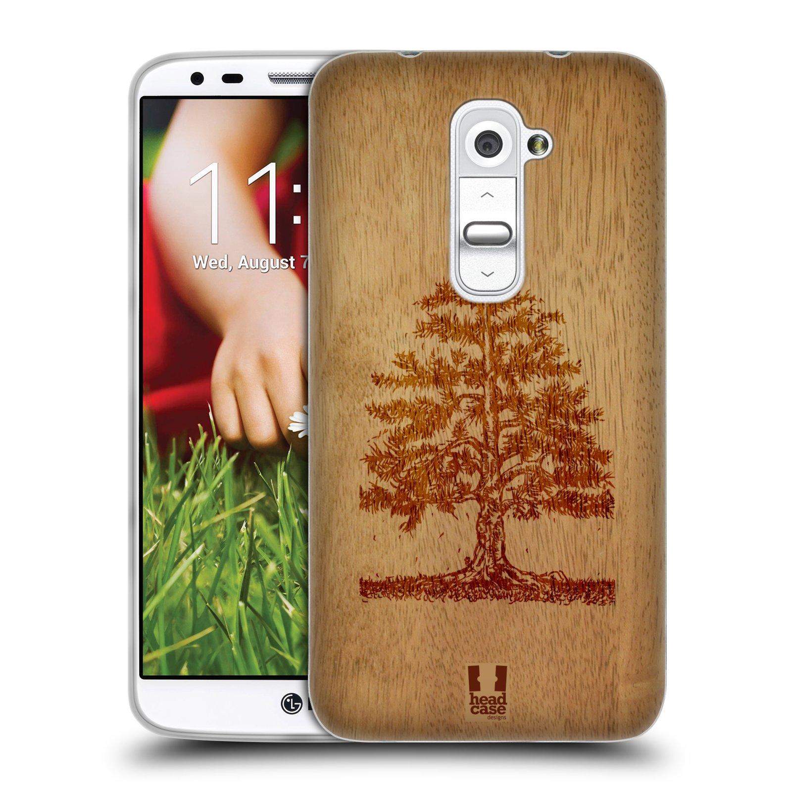 HEAD CASE silikonový obal na mobil LG G2 vzor Dřevěné umění STROM