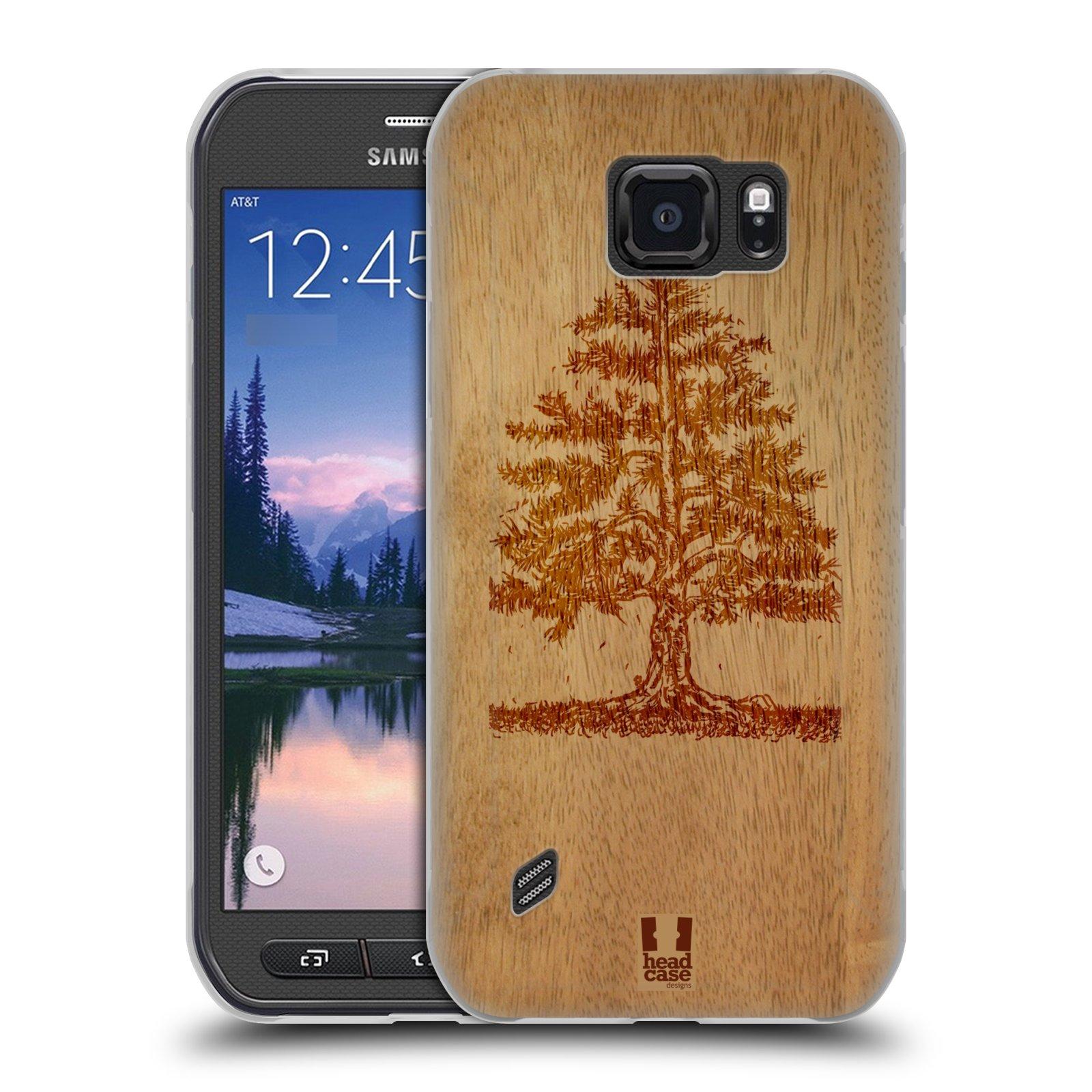 HEAD CASE silikonový obal na mobil Samsung Galaxy S6 ACTIVE vzor Dřevěné umění STROM