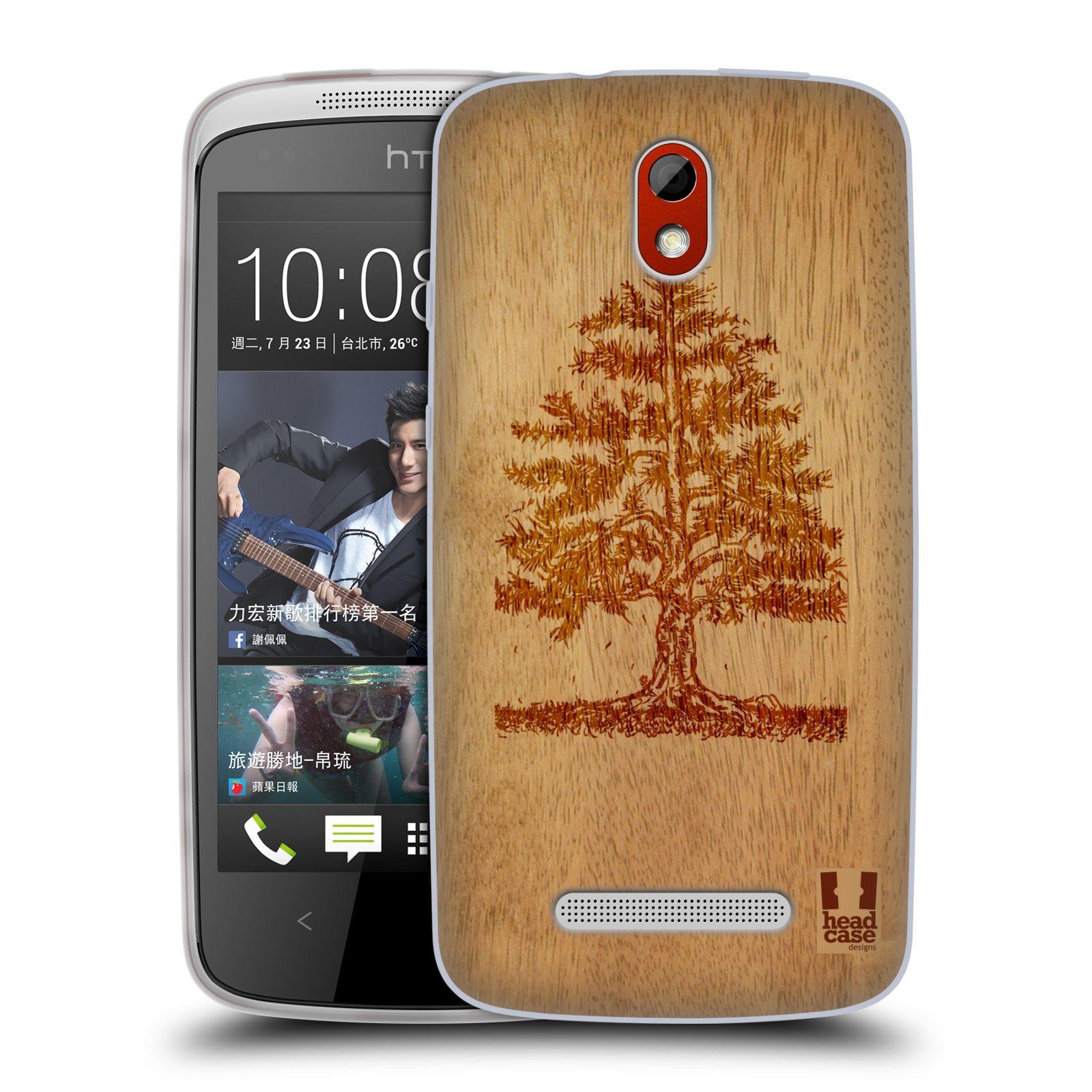 HEAD CASE silikonový obal na mobil HTC DESIRE 500 vzor Dřevěné umění STROM