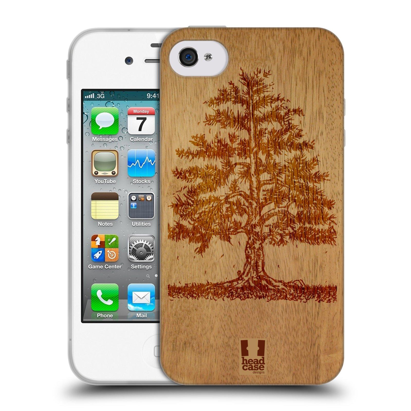 HEAD CASE silikonový obal na mobil Apple Iphone 4/4S vzor Dřevěné umění STROM