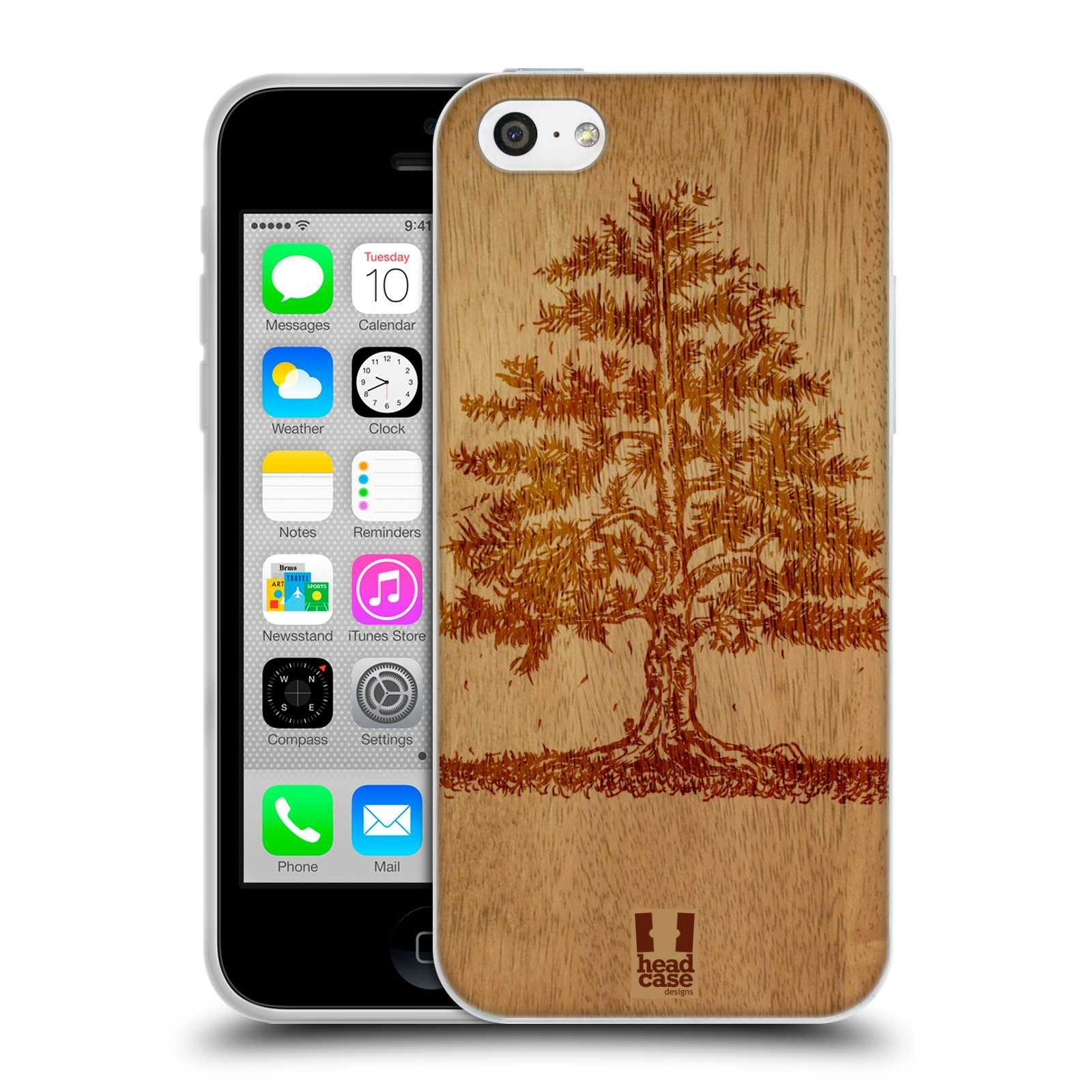 HEAD CASE silikonový obal na mobil Apple Iphone 5C vzor Dřevěné umění STROM