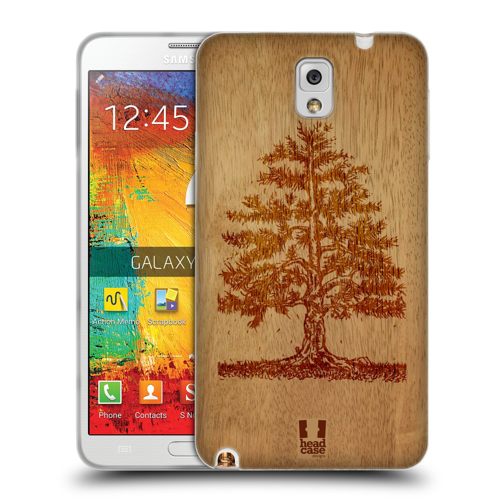 HEAD CASE silikonový obal na mobil Samsung Galaxy Note 3 (N9005) vzor Dřevěné umění STROM