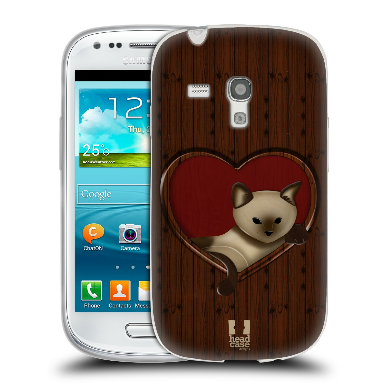 HEAD CASE silikonový obal na mobil Samsung Galaxy S3 MINI i8190 vzor Dřevěné umění 2 KOČIČKA V SRDCI