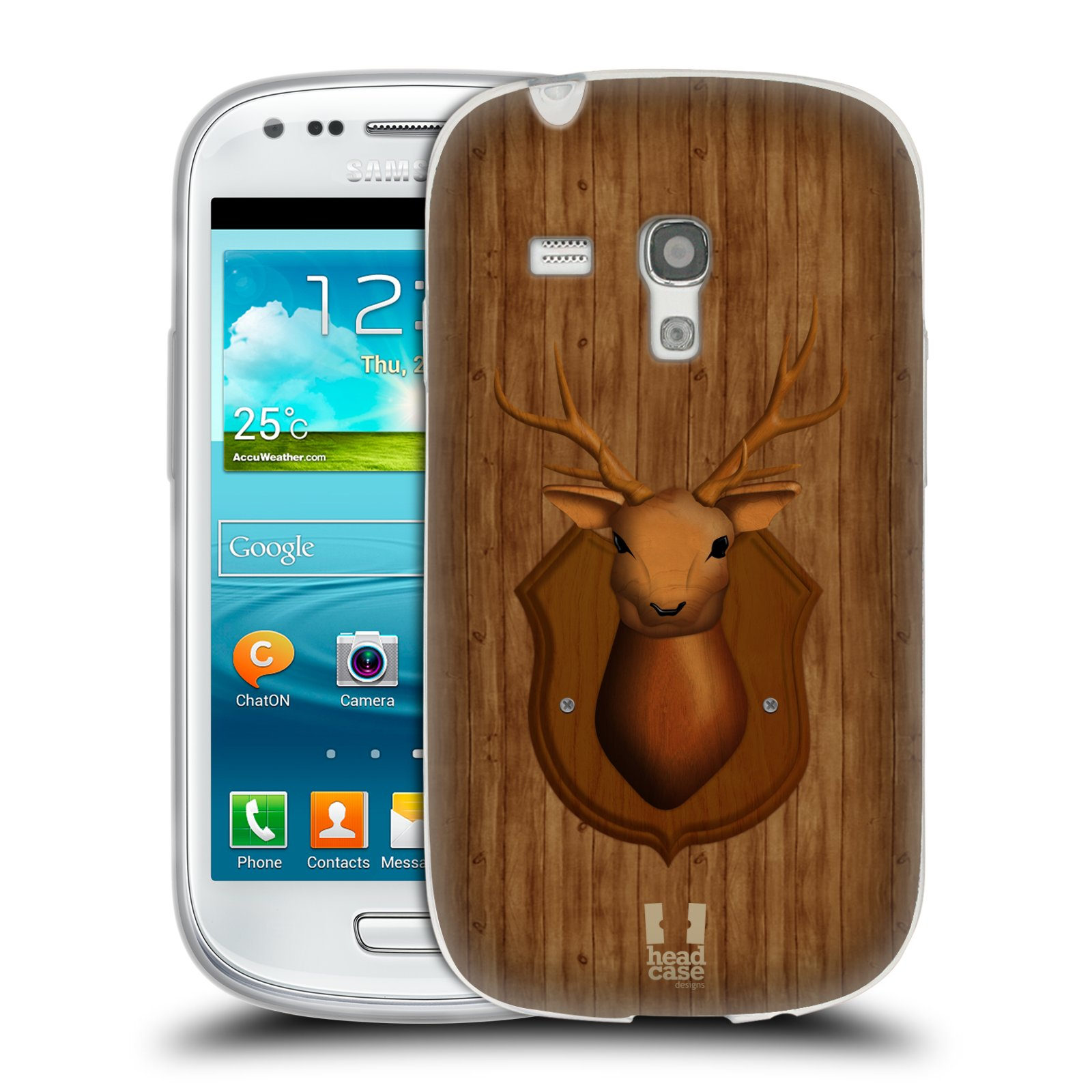 HEAD CASE silikonový obal na mobil Samsung Galaxy S3 MINI i8190 vzor Dřevěné umění 2 JELEN TROFEJ