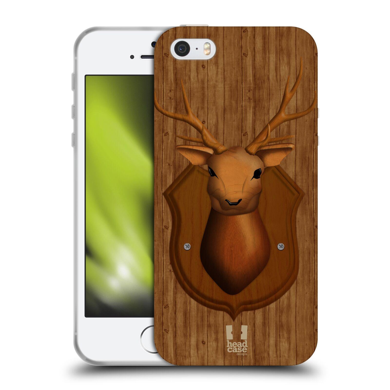 HEAD CASE silikonový obal na mobil Apple Iphone 5 5S vzor Dřevěné umění 2  JELEN TROFEJ 4c11ed43d15