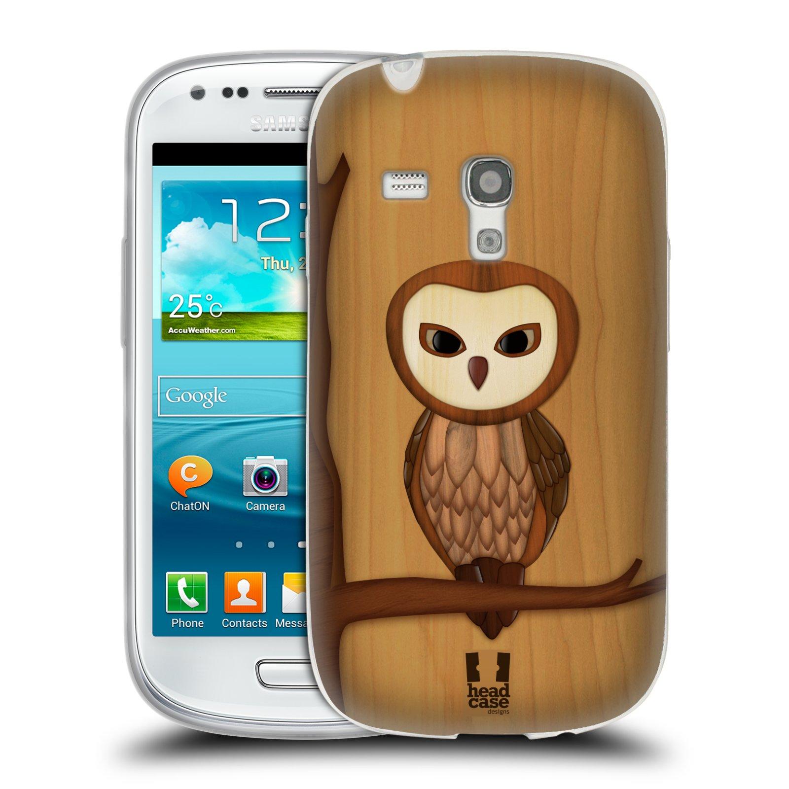 HEAD CASE silikonový obal na mobil Samsung Galaxy S3 MINI i8190 vzor Dřevěné umění 2 SOVA