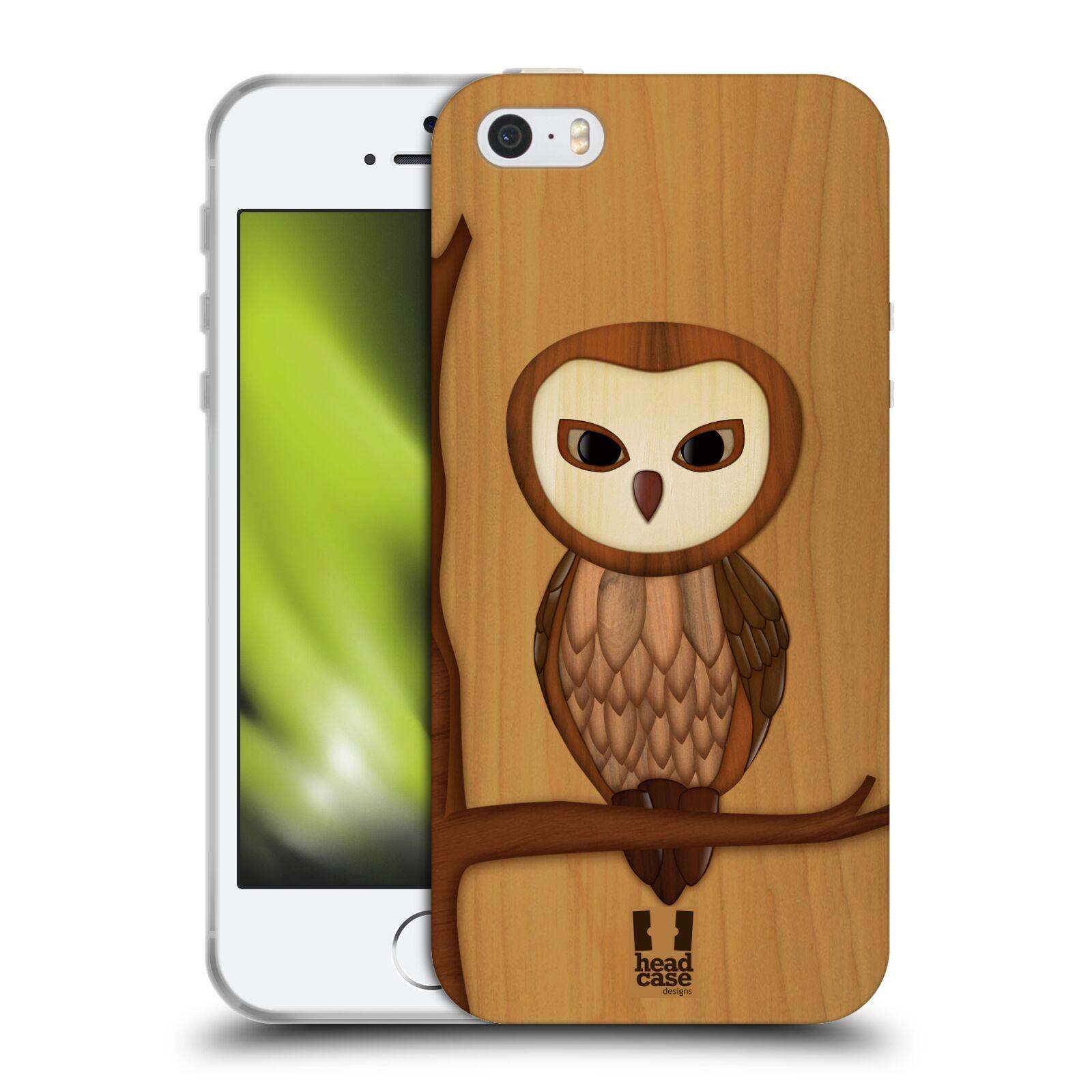 HEAD CASE silikonový obal na mobil Apple Iphone 5 5S vzor Dřevěné umění 2  SOVA 144816595de