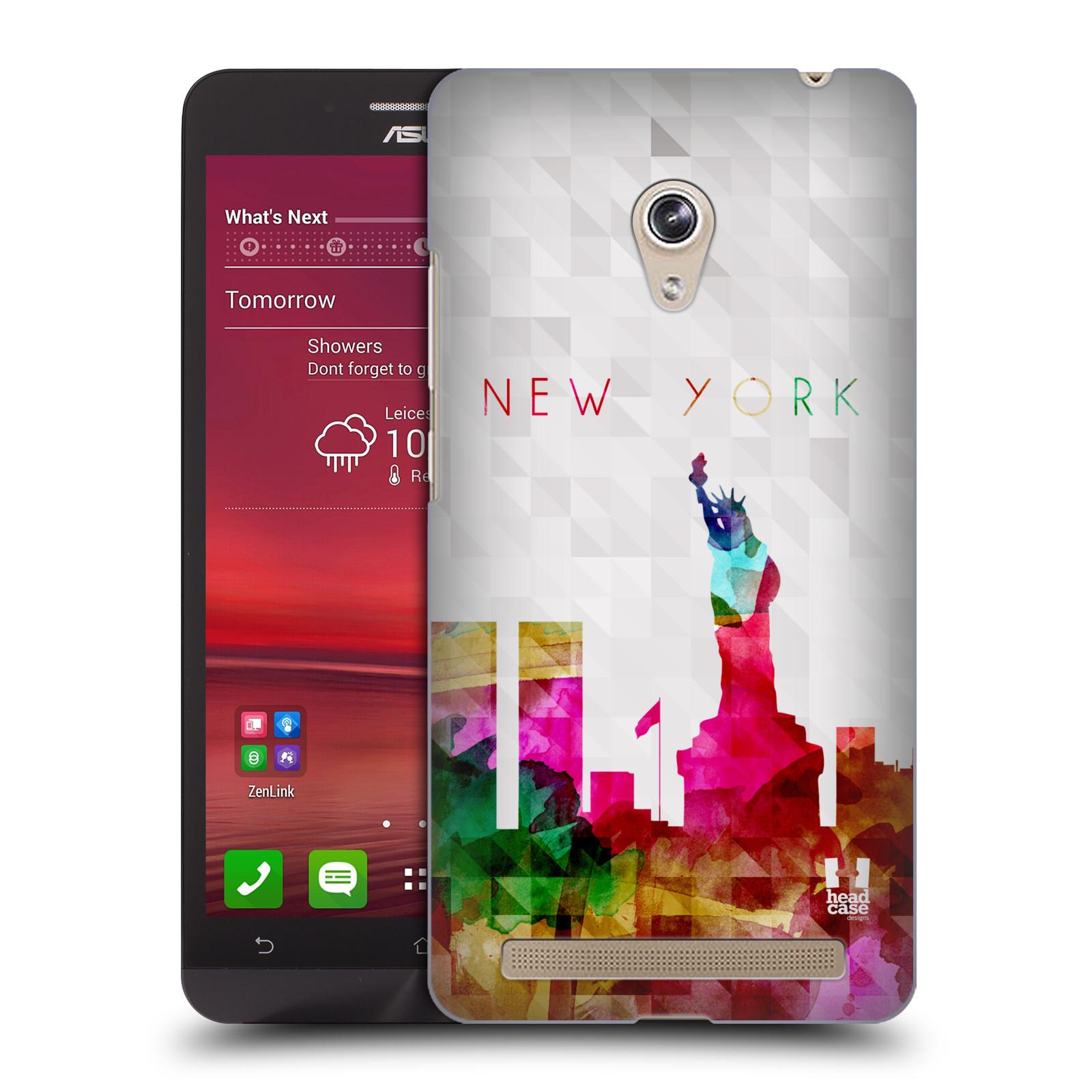 HEAD CASE plastový obal na mobil Asus Zenfone 6 vzor Vodní barva města silueta NEW YORK USA SOCHA SVOBODY