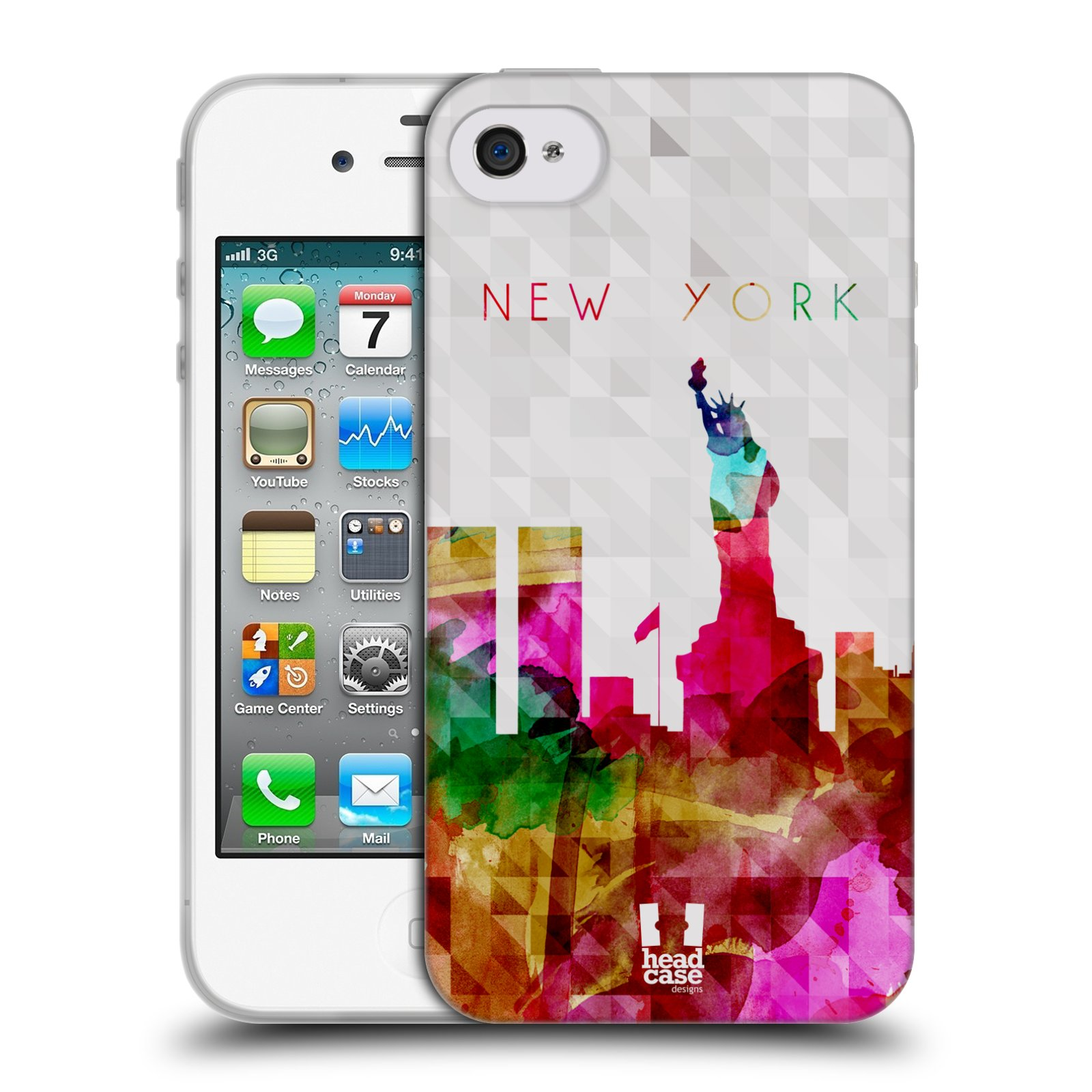 HEAD CASE silikonový obal na mobil Apple Iphone 4/4S vzor Vodní barva města silueta NEW YORK USA SOCHA SVOBODY