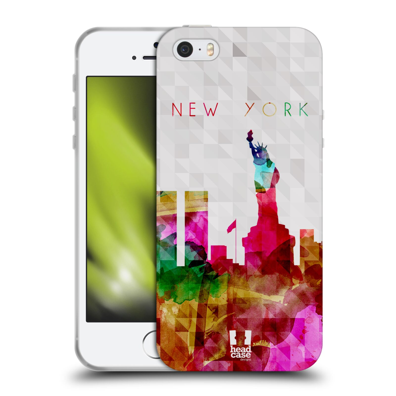 HEAD CASE silikonový obal na mobil Apple Iphone 5/5S vzor Vodní barva města silueta NEW YORK USA SOCHA SVOBODY