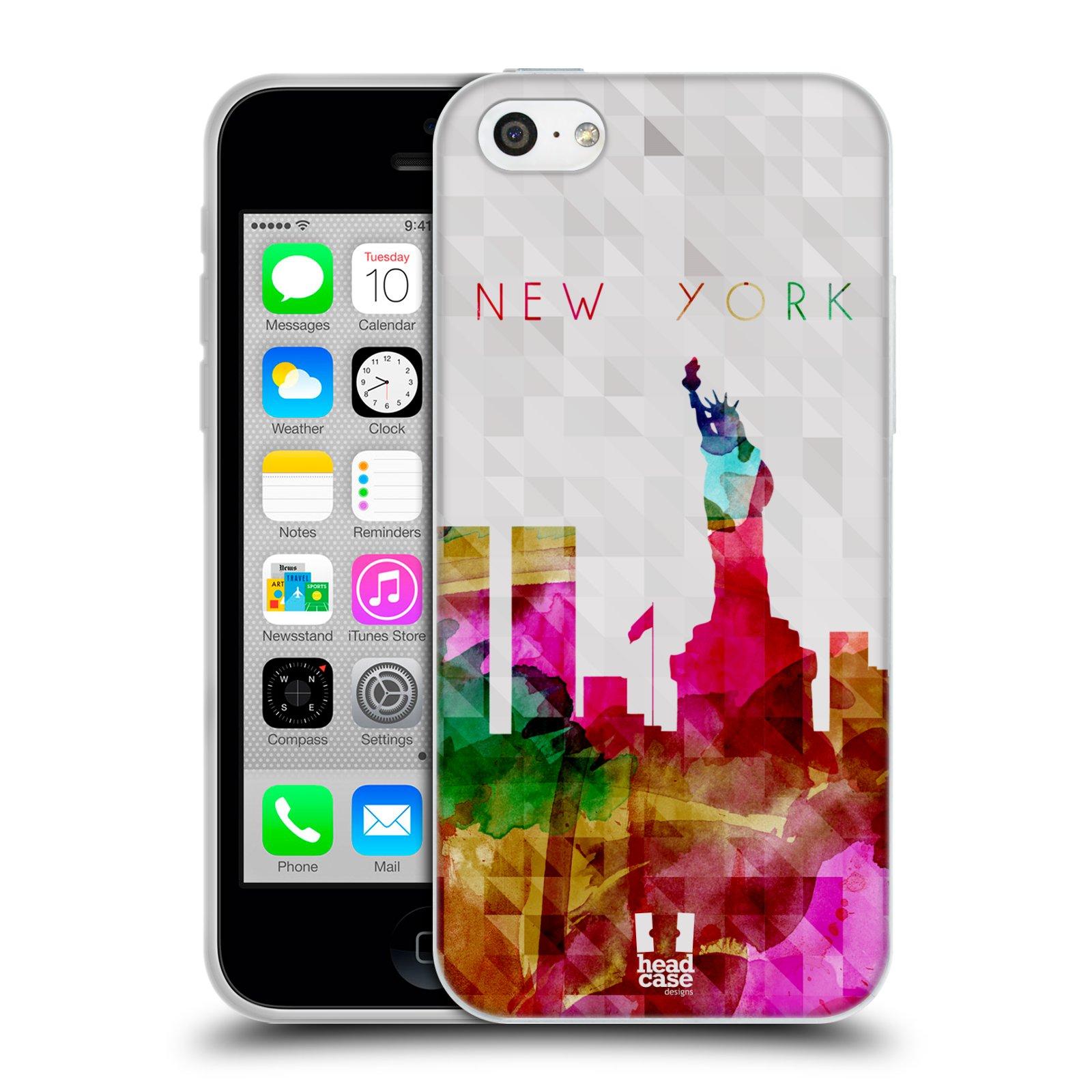 HEAD CASE silikonový obal na mobil Apple Iphone 5C vzor Vodní barva města silueta NEW YORK USA SOCHA SVOBODY