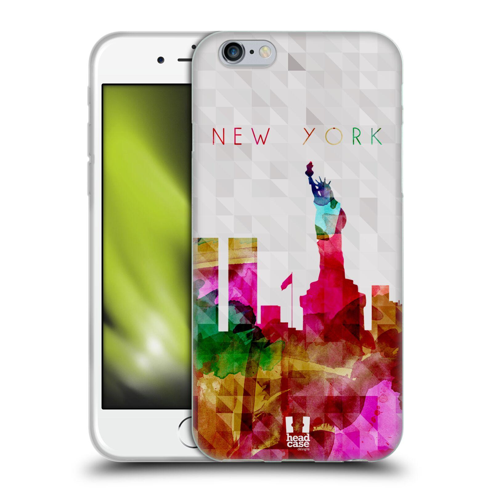 HEAD CASE silikonový obal na mobil Apple Iphone 6/6S vzor Vodní barva města silueta NEW YORK USA SOCHA SVOBODY