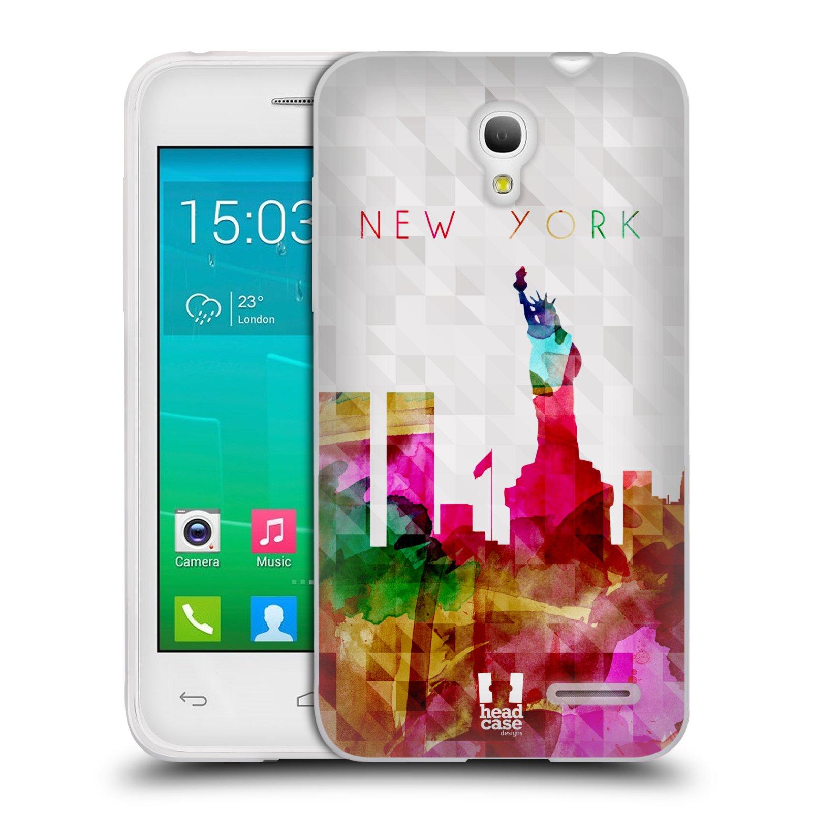 HEAD CASE silikonový obal na mobil Alcatel POP S3 OT-5050Y vzor Vodní barva města silueta NEW YORK USA SOCHA SVOBODY
