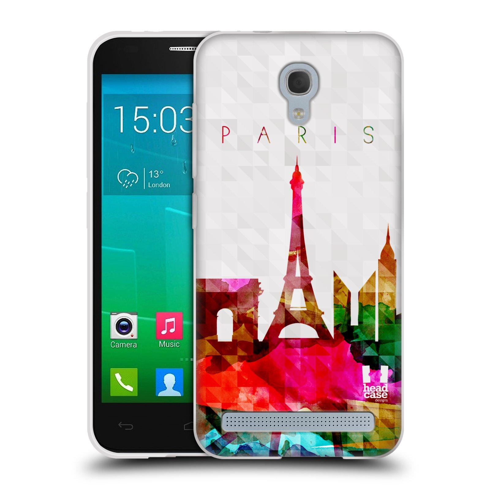 HEAD CASE silikonový obal na mobil Alcatel Idol 2 MINI S 6036Y vzor Vodní barva města silueta PAŘÍŽ FRANICE EIFFELOVA VĚŽ