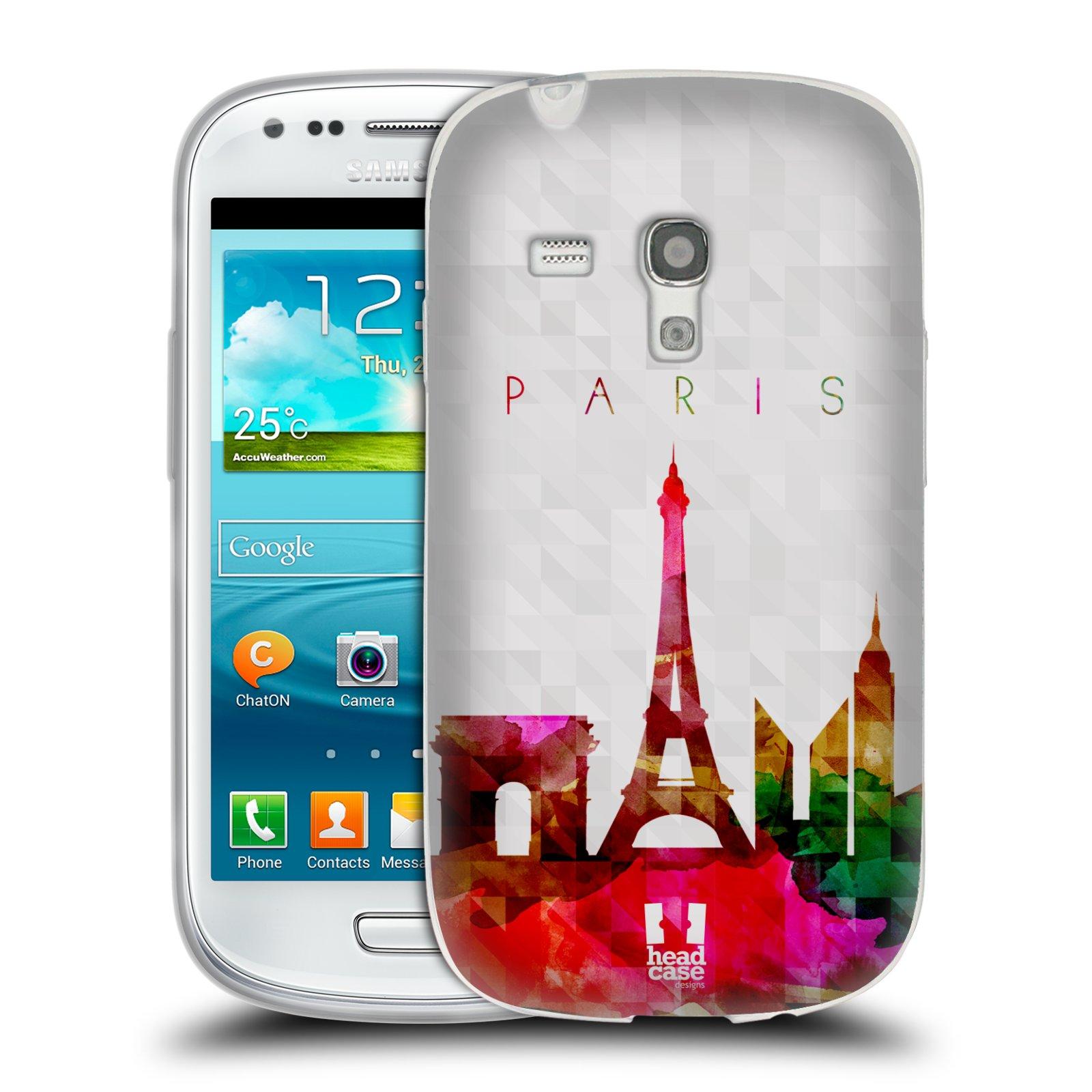 HEAD CASE silikonový obal na mobil Samsung Galaxy S3 MINI i8190 vzor Vodní barva města silueta PAŘÍŽ FRANICE EIFFELOVA VĚŽ