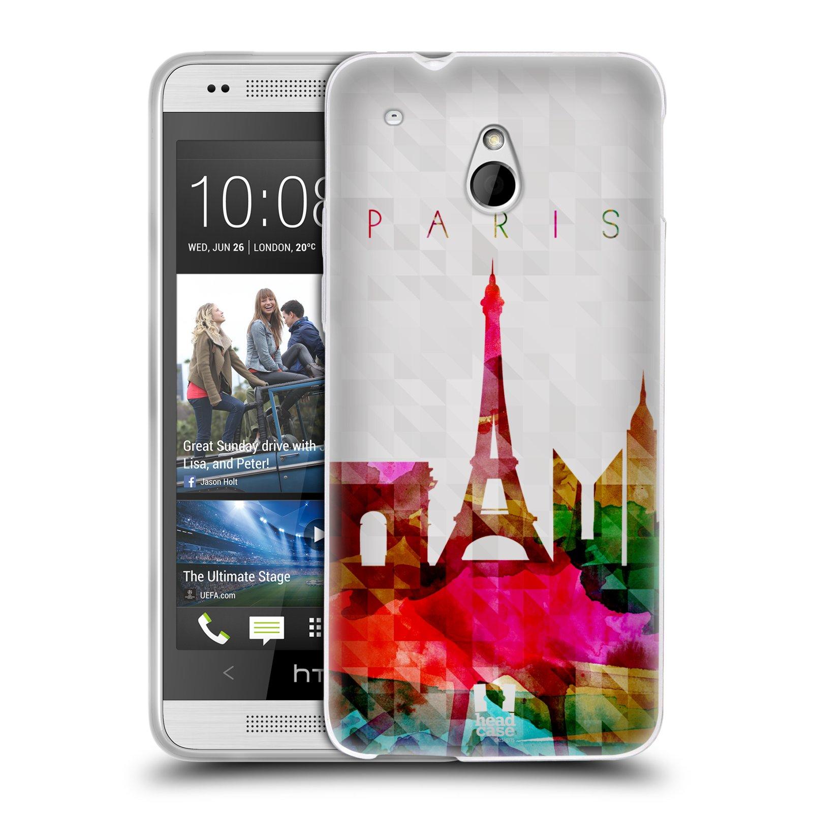 HEAD CASE silikonový obal na mobil HTC ONE MINI (M4) vzor Vodní barva města silueta PAŘÍŽ FRANICE EIFFELOVA VĚŽ