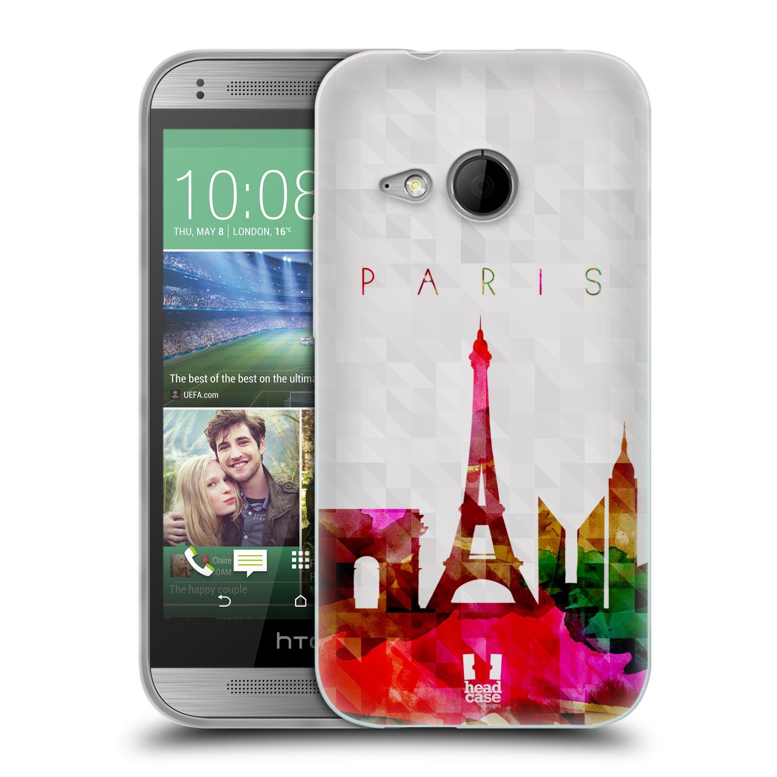 HEAD CASE silikonový obal na mobil HTC ONE MINI 2 vzor Vodní barva města silueta PAŘÍŽ FRANICE EIFFELOVA VĚŽ