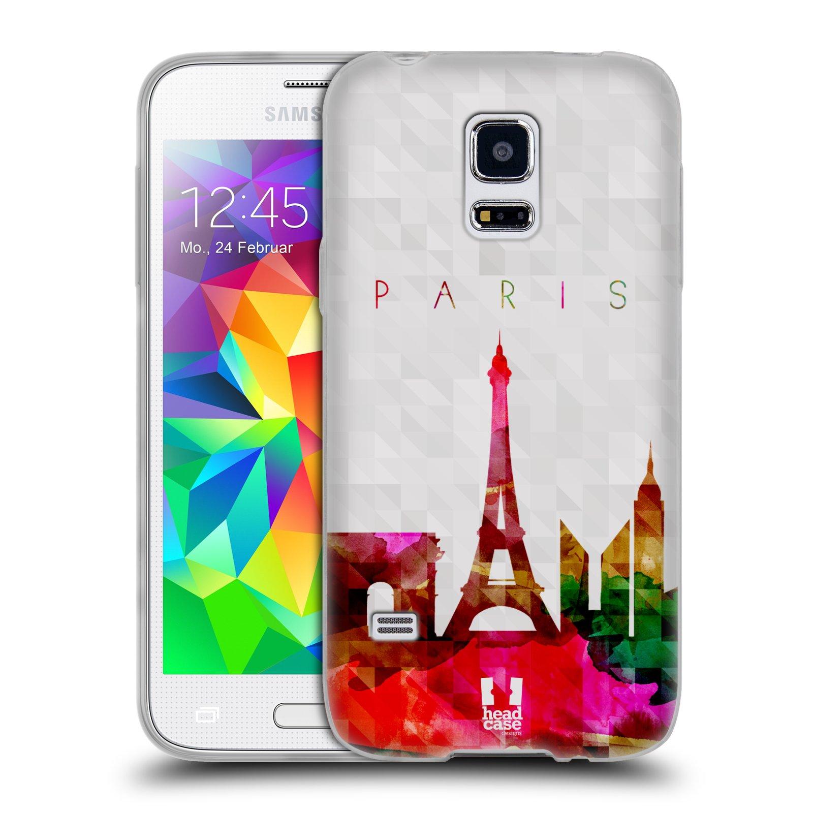 HEAD CASE silikonový obal na mobil Samsung Galaxy S5 MINI vzor Vodní barva města silueta PAŘÍŽ FRANICE EIFFELOVA VĚŽ