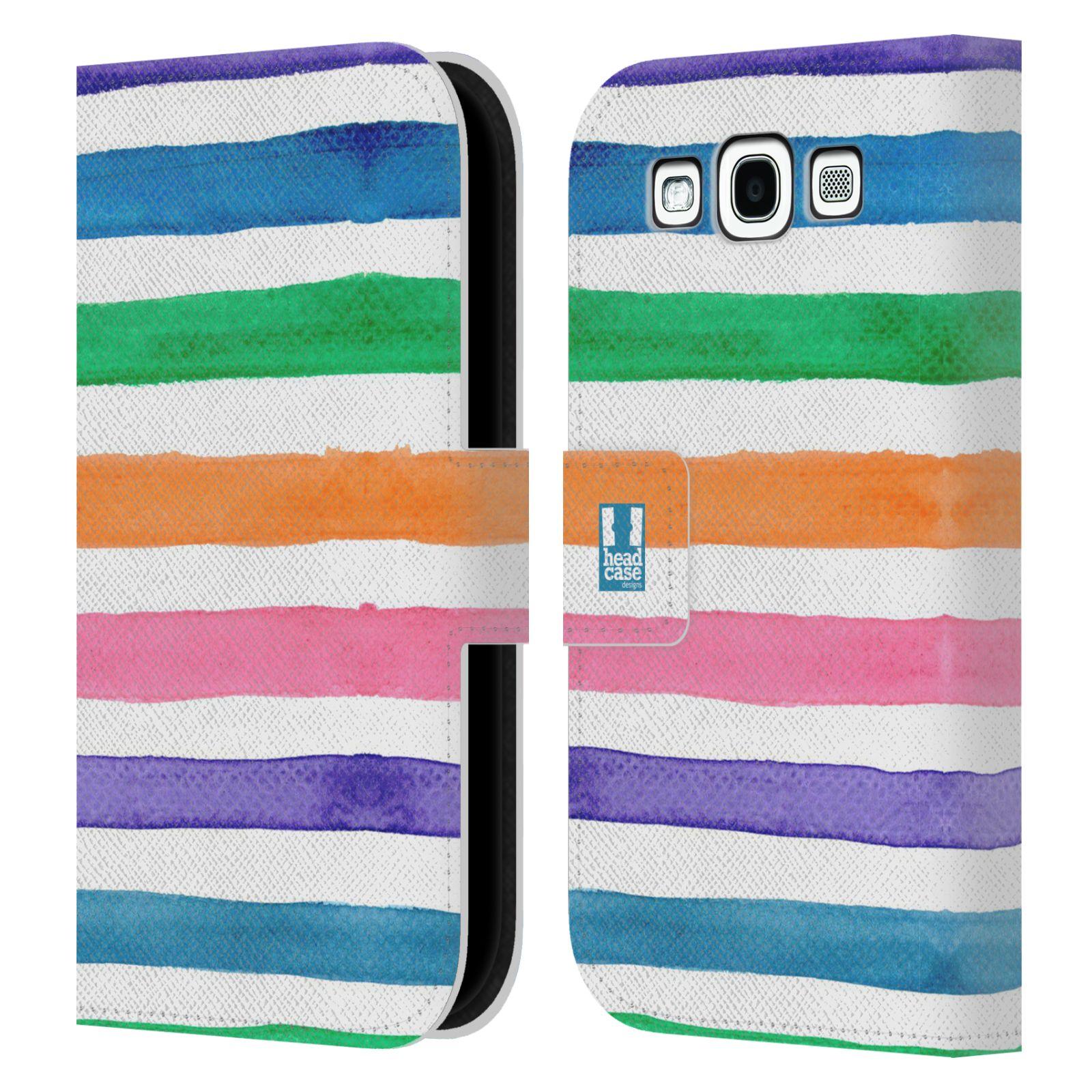 HEAD CASE Flipové pouzdro pro mobil Samsung Galaxy S3 barevné pruhy duha