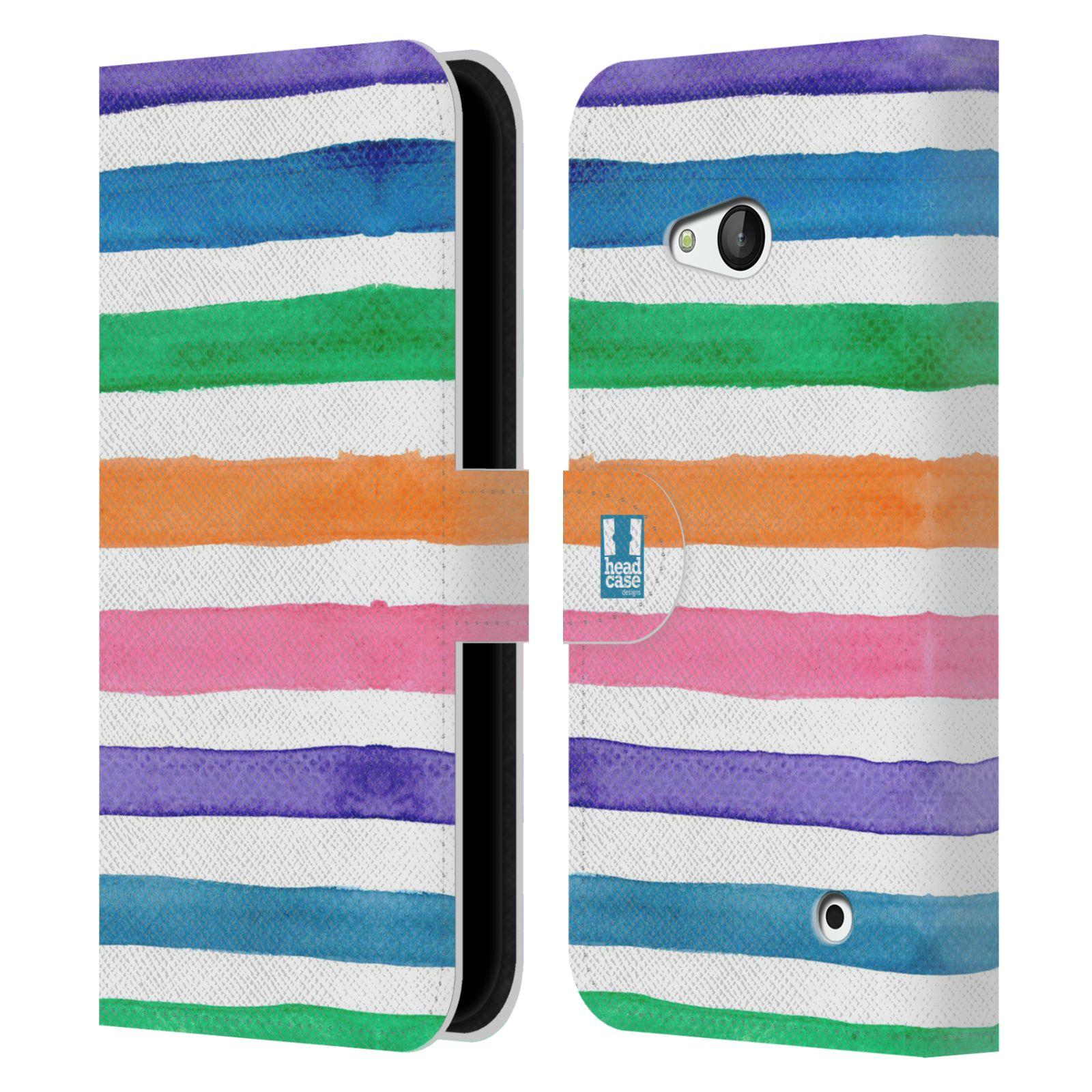 HEAD CASE Flipové pouzdro pro mobil NOKIA / MICROSOFT LUMIA 640 / LUMIA 640 DUAL barevné pruhy duha