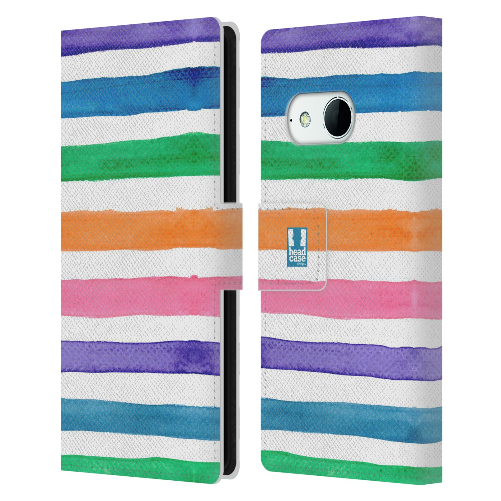 HEAD CASE Flipové pouzdro pro mobil HTC ONE MINI 2 (M8) barevné pruhy duha