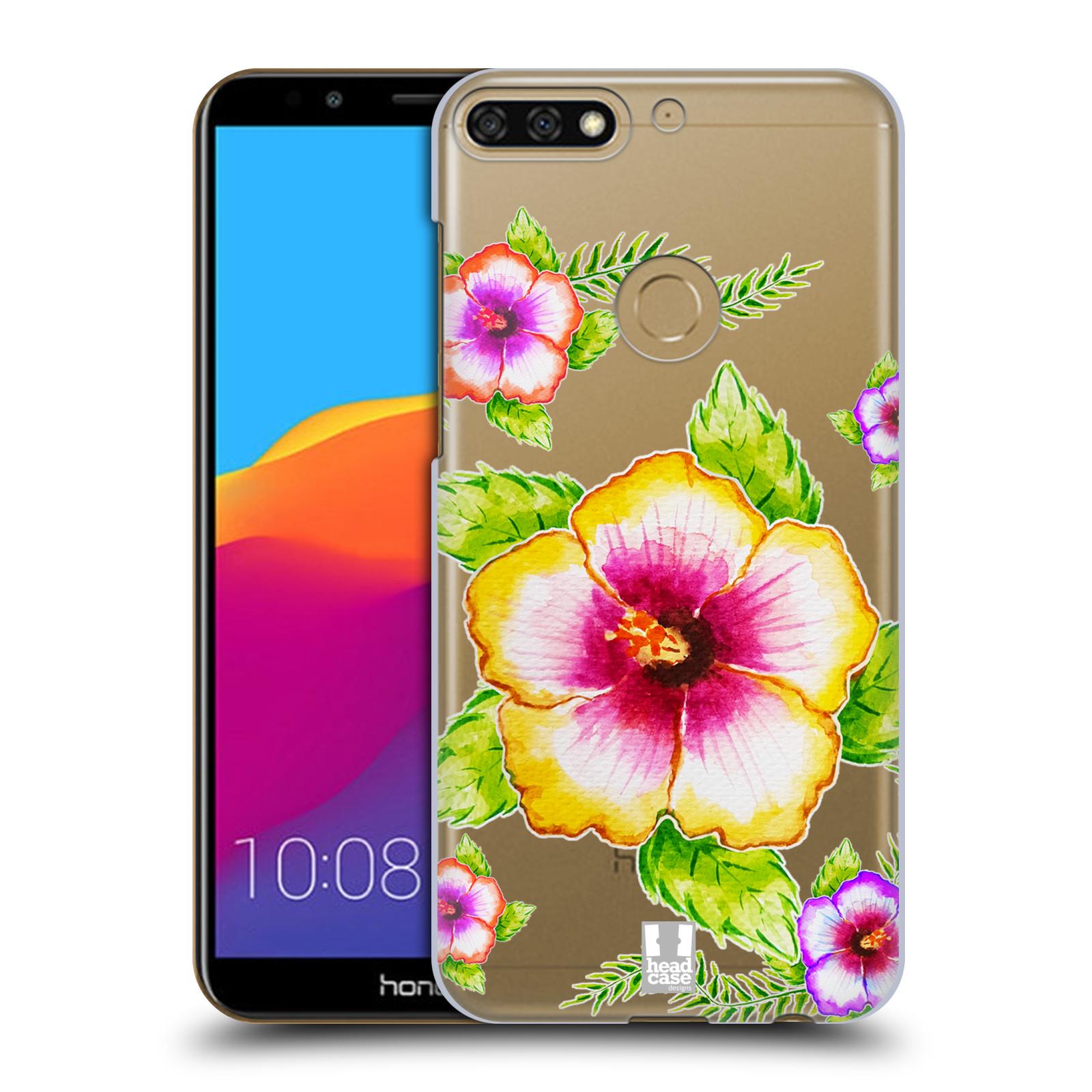 HEAD CASE plastový obal na mobil Honor 7c Květina Ibišek vodní barvy