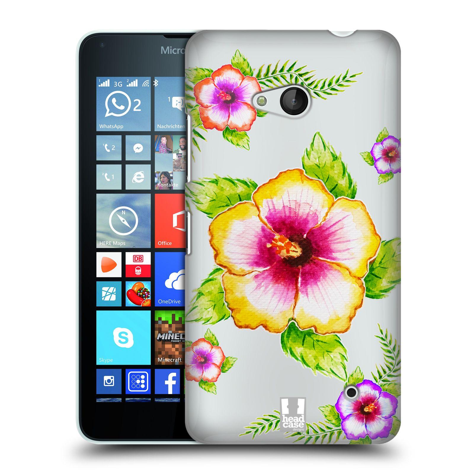 HEAD CASE plastový obal na mobil Nokia Lumia 640 Květina Ibišek vodní barvy