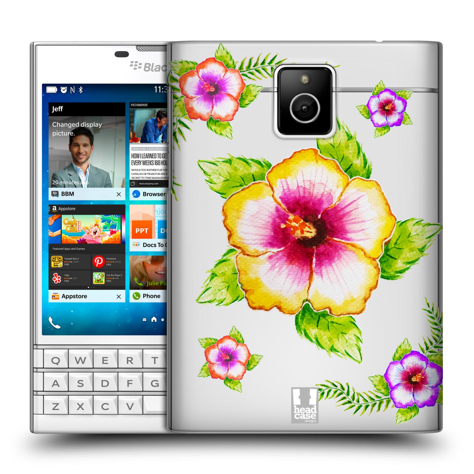 HEAD CASE plastový obal na mobil BlackBerry Passport Květina Ibišek vodní barvy