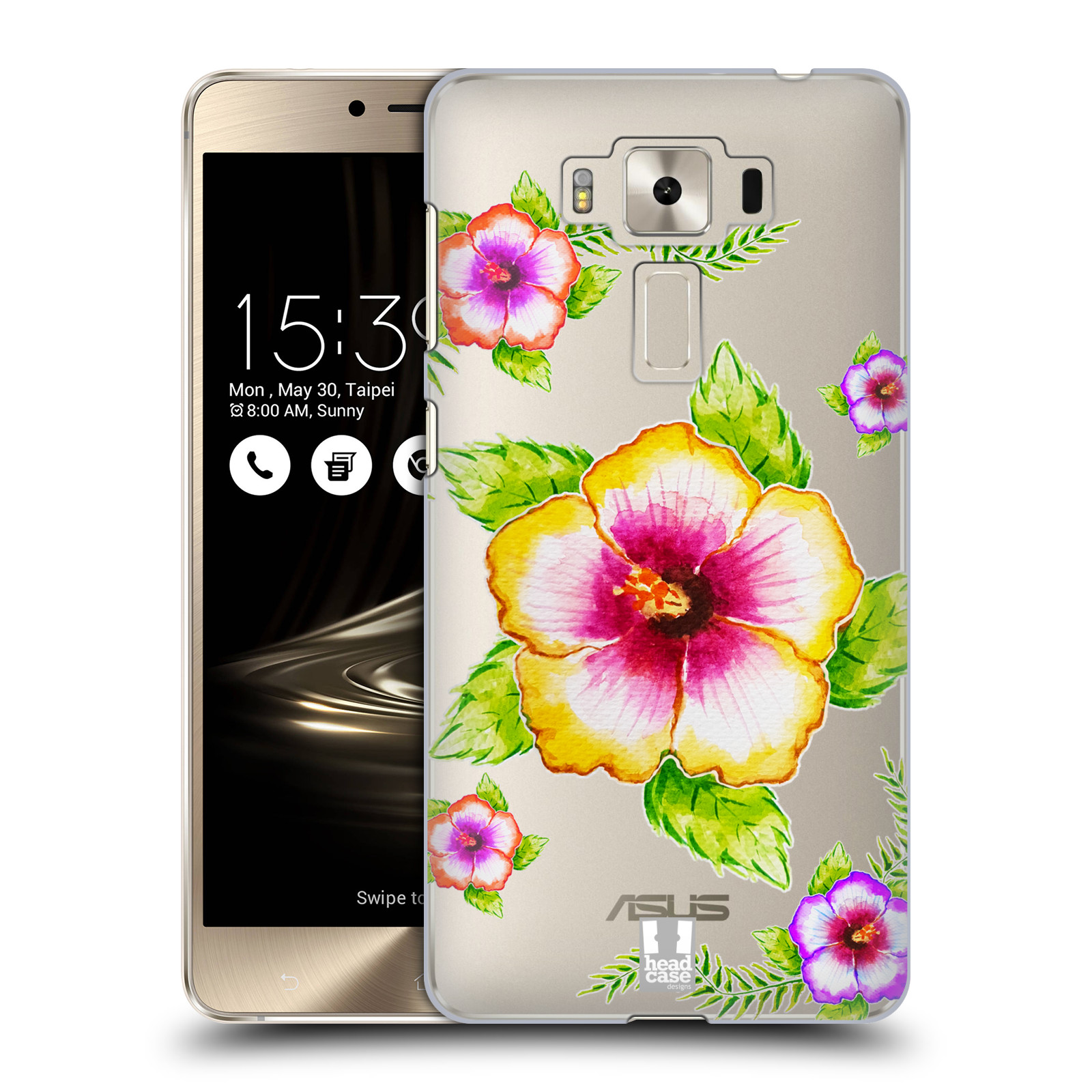 HEAD CASE plastový obal na mobil Asus Zenfone 3 DELUXE ZS550KL Květina Ibišek vodní barvy
