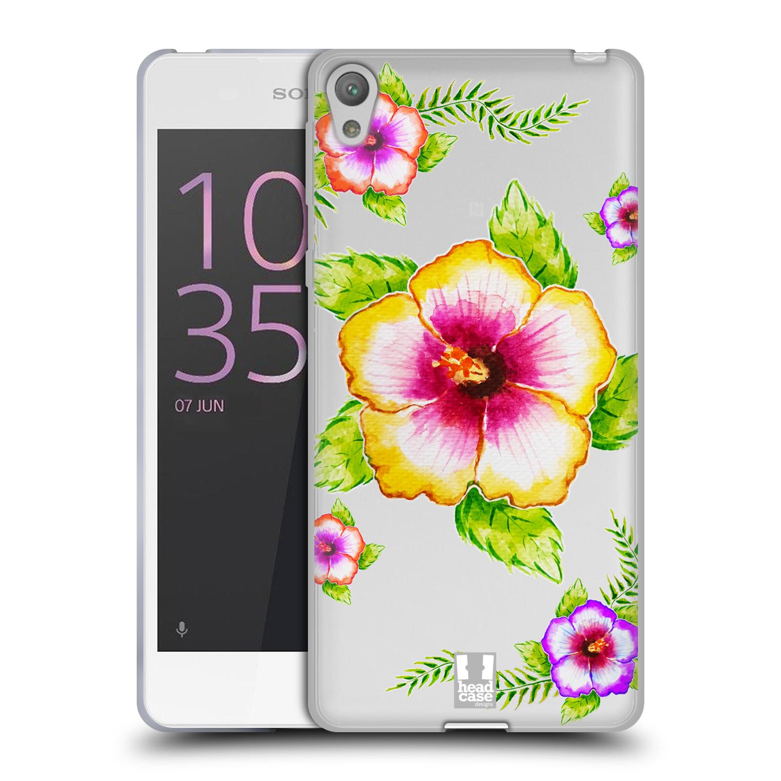 HEAD CASE silikonový obal na mobil Sony Xperia E5 Květina Ibišek vodní barvy