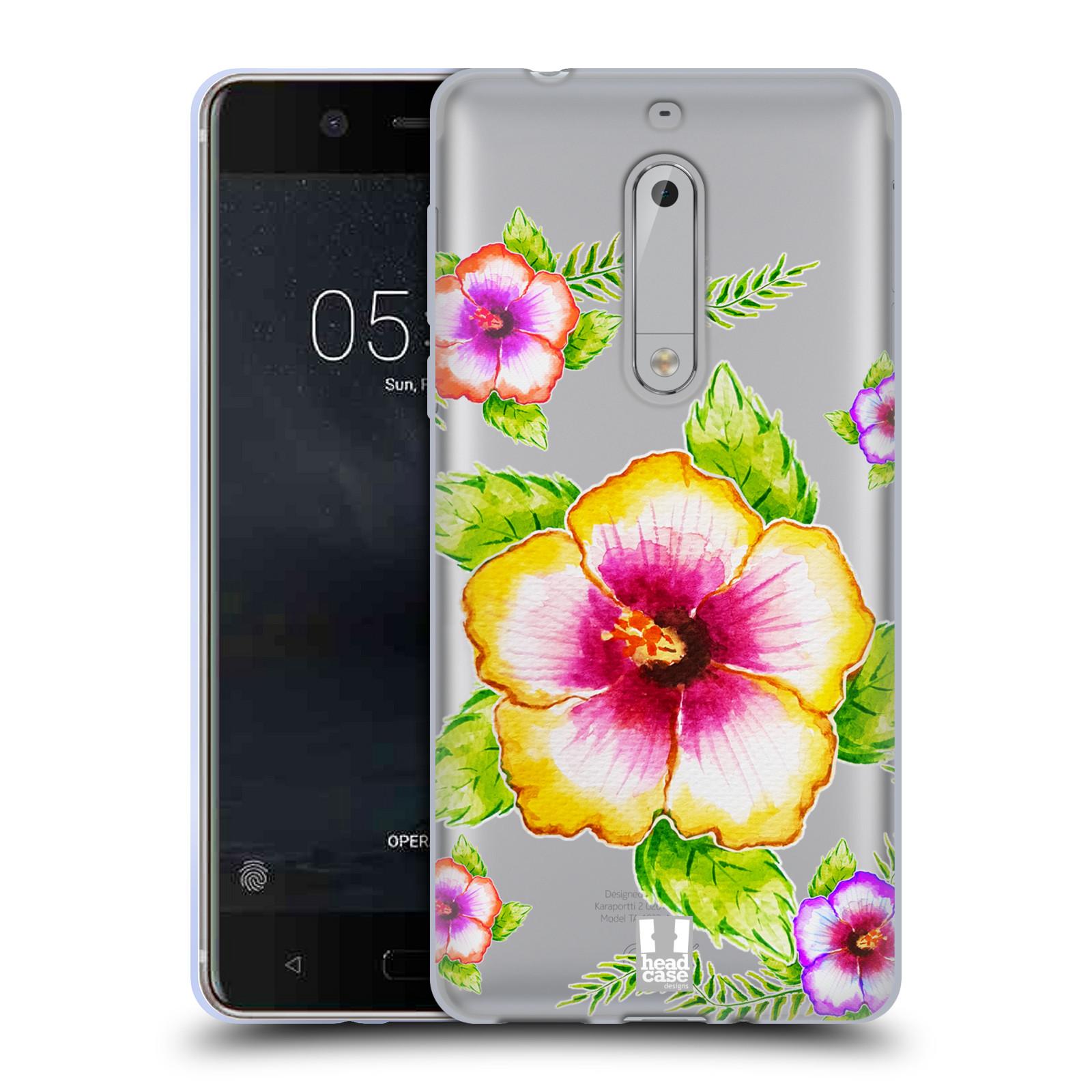 HEAD CASE silikonový obal na mobil Nokia 5 Květina Ibišek vodní barvy