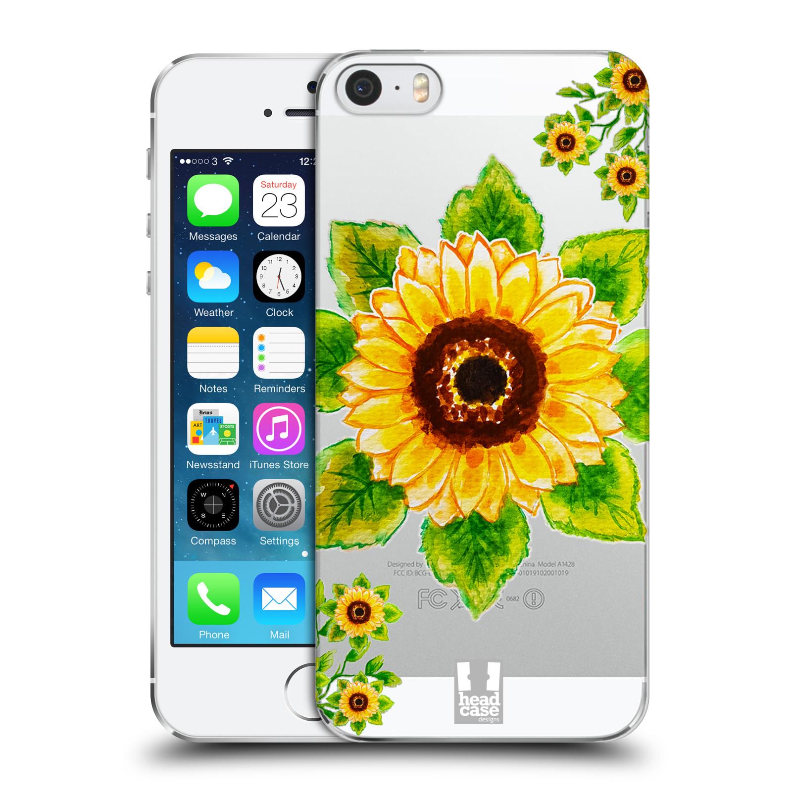 Plastové pouzdro pro mobil Apple Iphone 5 / 5S / SE Květina Slunečnice vodní barvy