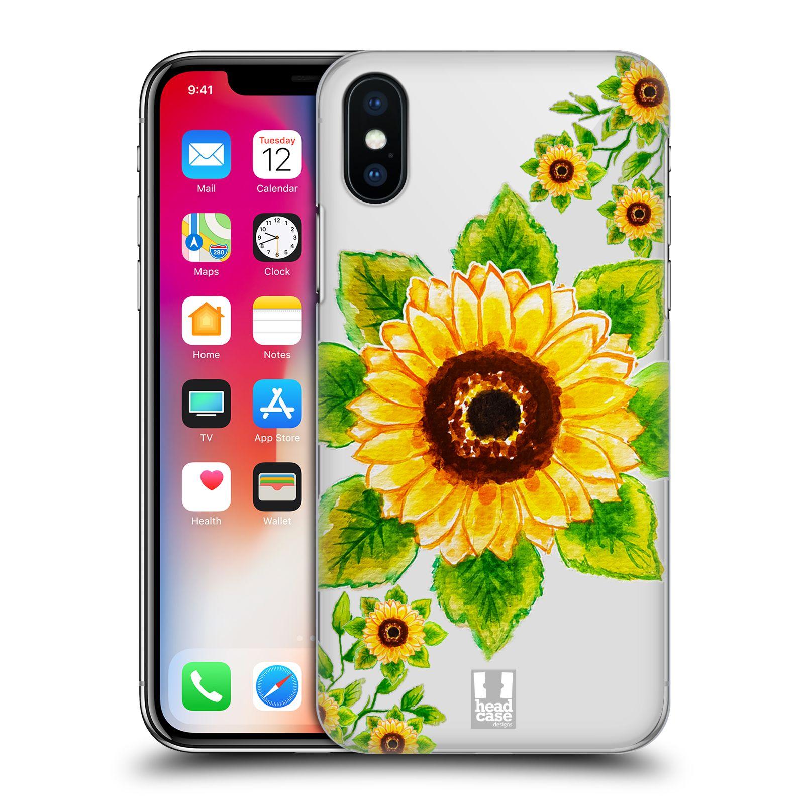 HEAD CASE plastový obal na mobil Apple Iphone X / XS Květina Slunečnice vodní barvy