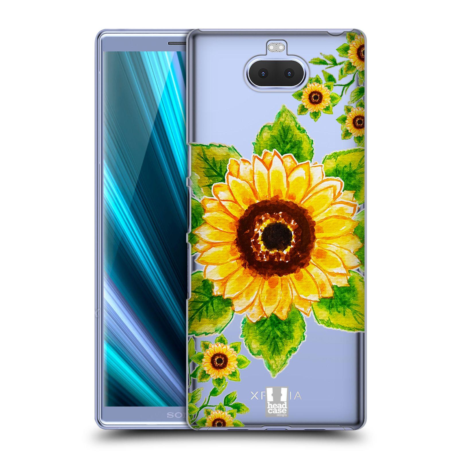 Pouzdro na mobil Sony Xperia 10 - Head Case - Květina Slunečnice vodní barvy