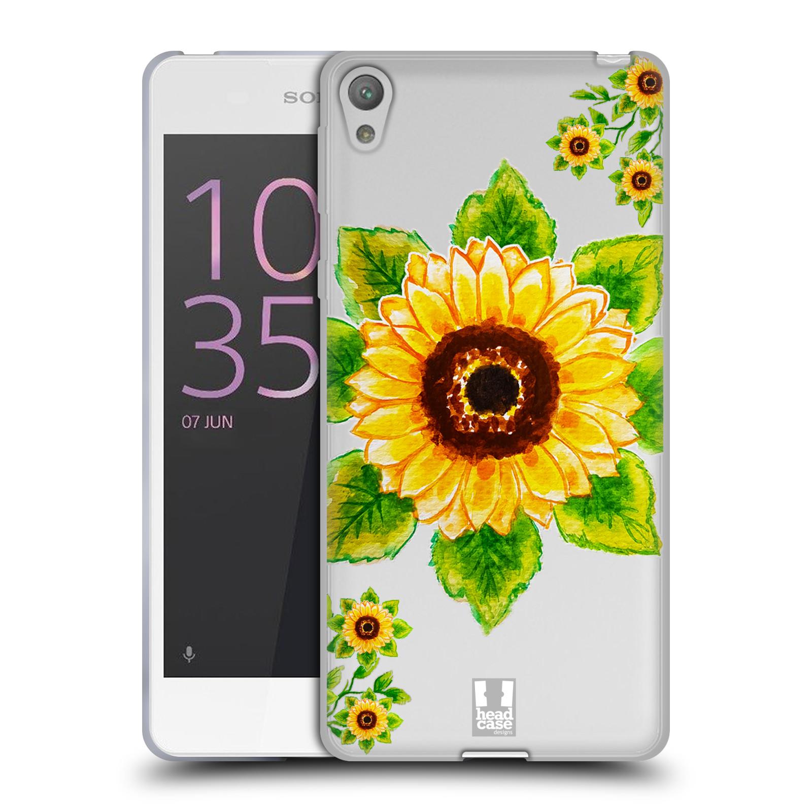 HEAD CASE silikonový obal na mobil Sony Xperia E5 Květina Slunečnice vodní barvy