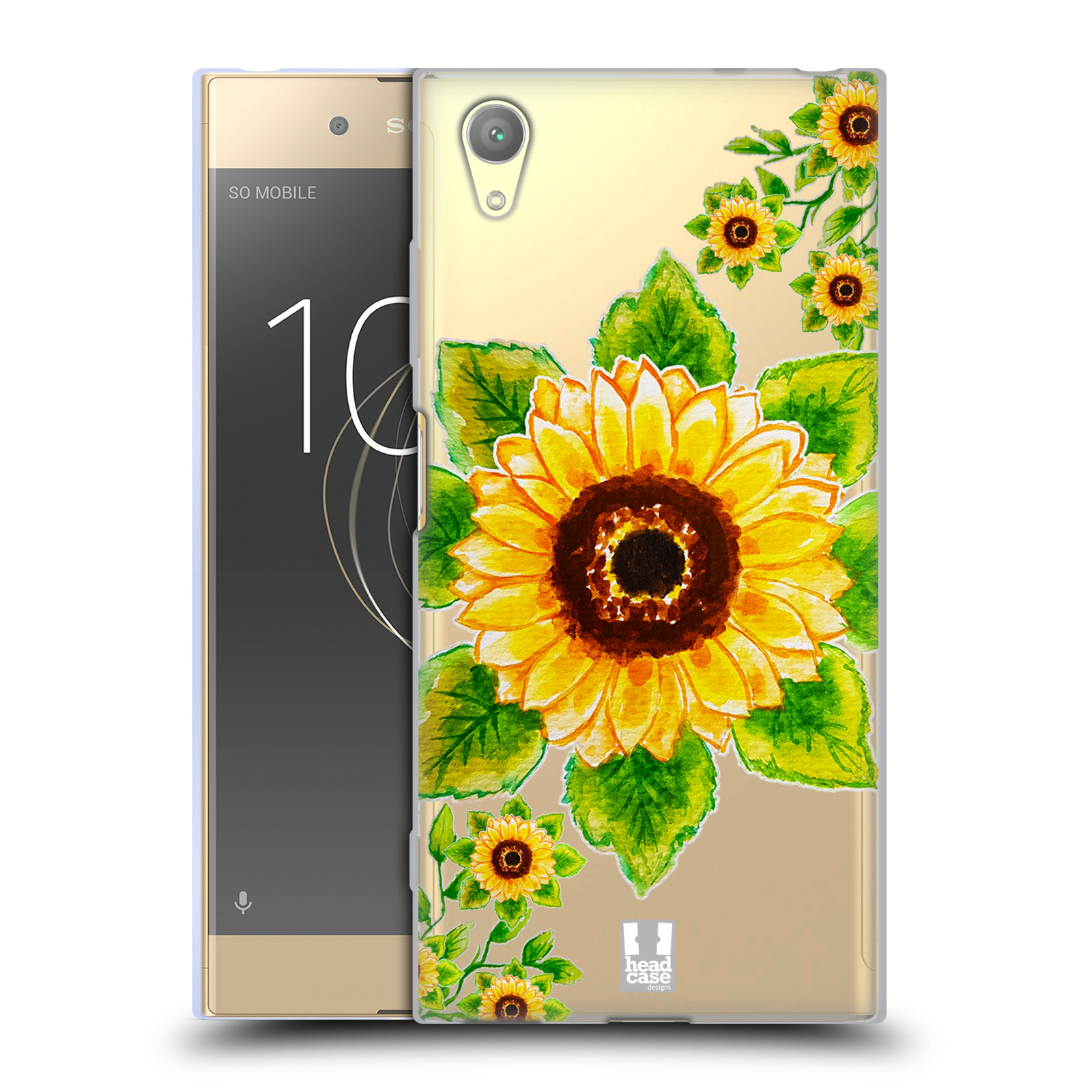 HEAD CASE silikonový obal na mobil Sony Xperia XA1 PLUS Květina Slunečnice vodní barvy