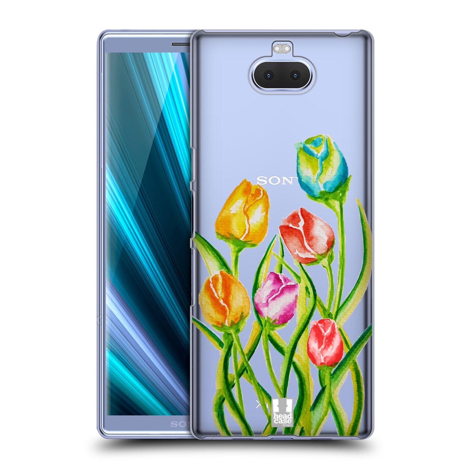Pouzdro na mobil Sony Xperia 10 Plus - Head Case - Květina Tulipán vodní barvy