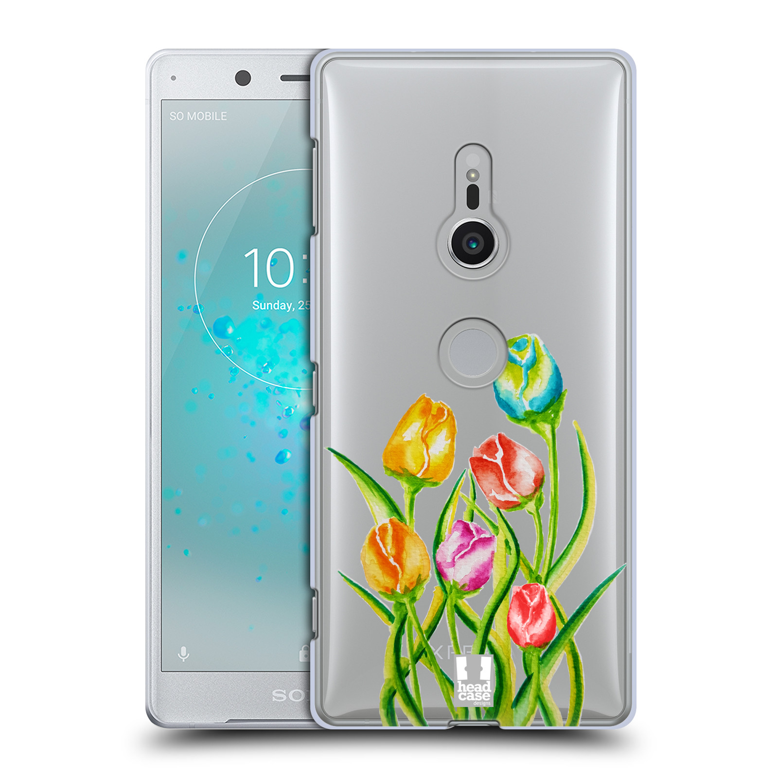 HEAD CASE plastový obal na mobil Sony Xperia XZ2 Květina Tulipán vodní barvy