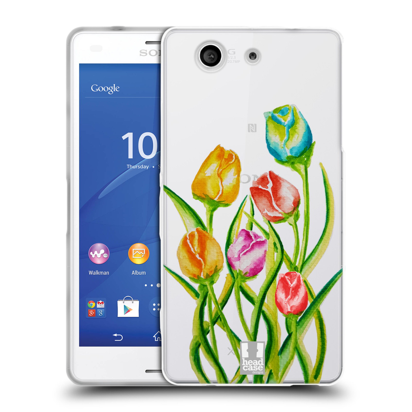 HEAD CASE silikonový obal na mobil Sony Xperia Z3 COMPACT Květina Tulipán vodní barvy