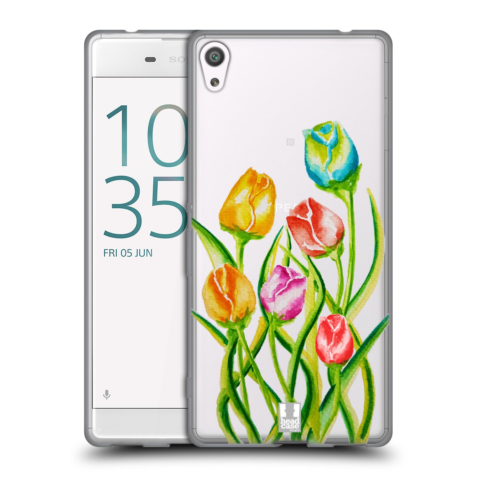 HEAD CASE silikonový obal na mobil Sony Xperia XA ULTRA Květina Tulipán vodní barvy