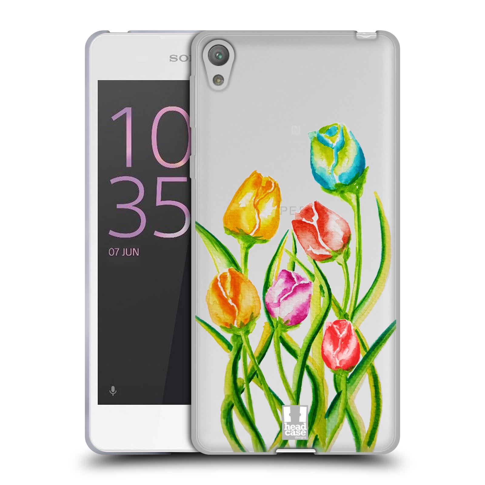 HEAD CASE silikonový obal na mobil Sony Xperia E5 Květina Tulipán vodní barvy