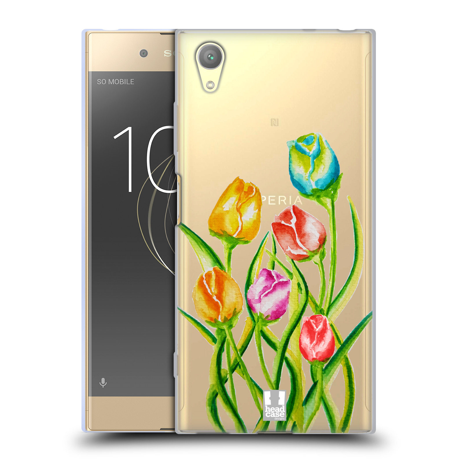 HEAD CASE silikonový obal na mobil Sony Xperia XA1 PLUS Květina Tulipán vodní barvy